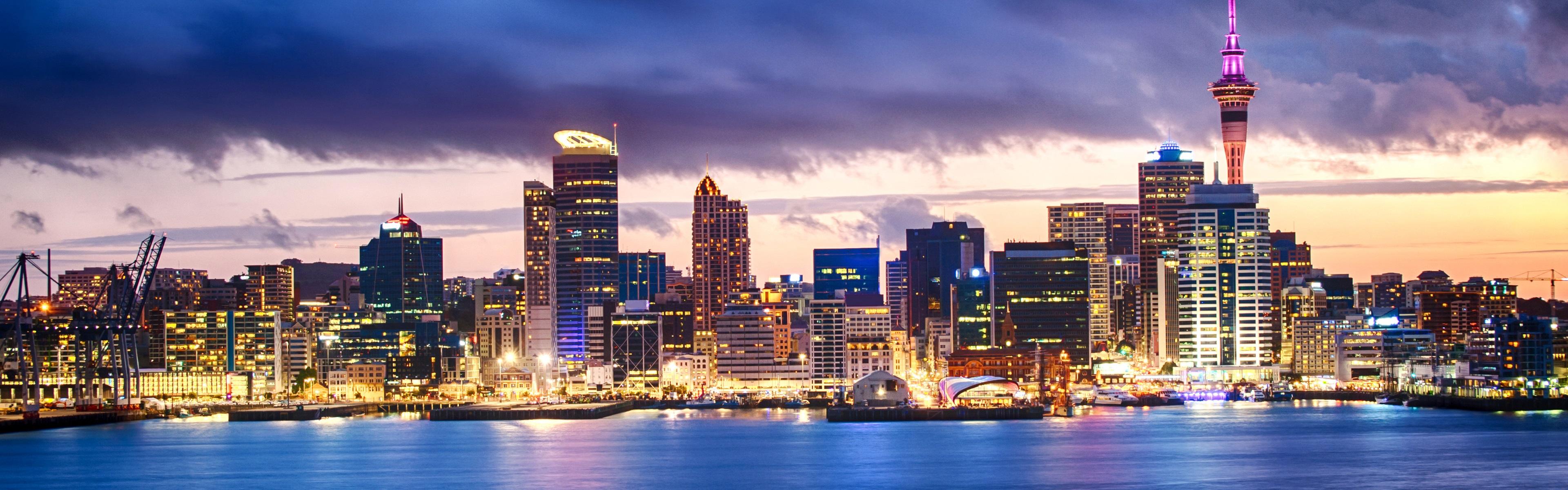 Обои окленд, Вечер, огни, Новая Зеландия. Города foto 9