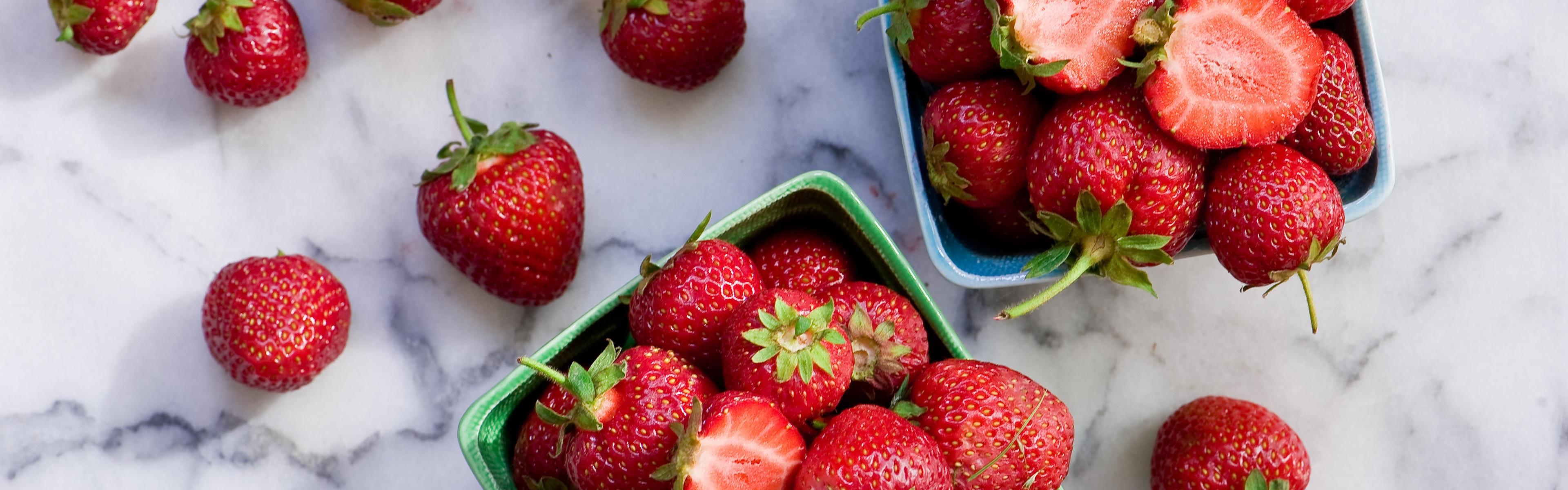 Strawberry, juicy fruit Wallpaper | 3840x1200 Multi ...