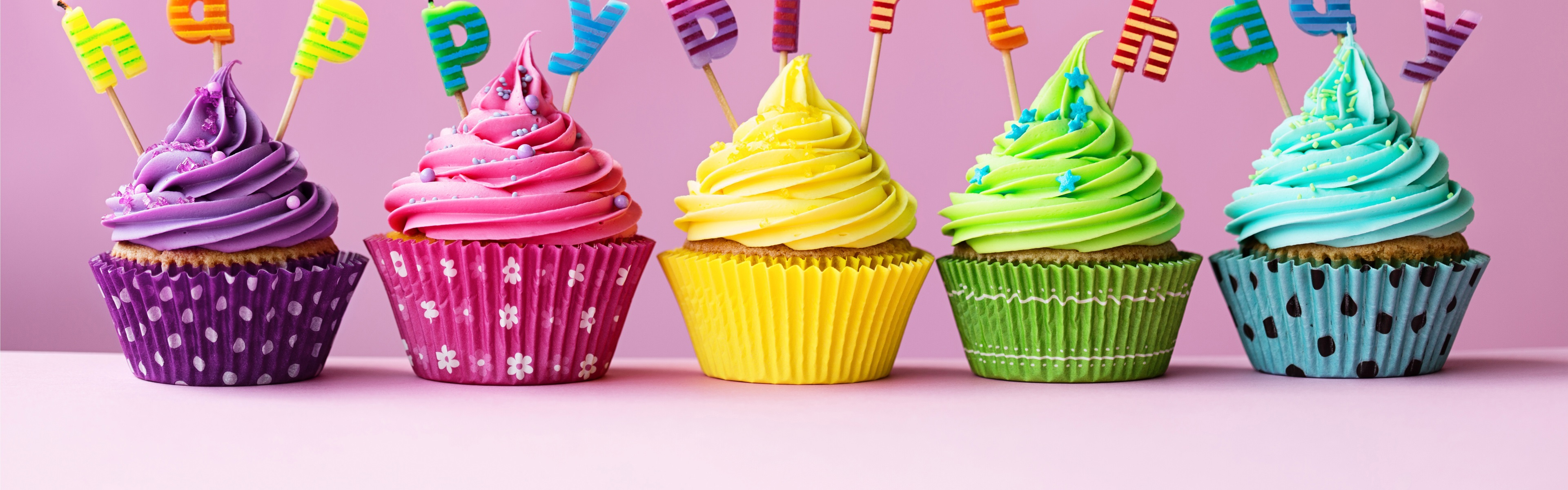 Wallpaper Happy Birthday Cakes Colorful Cupcakes Candles