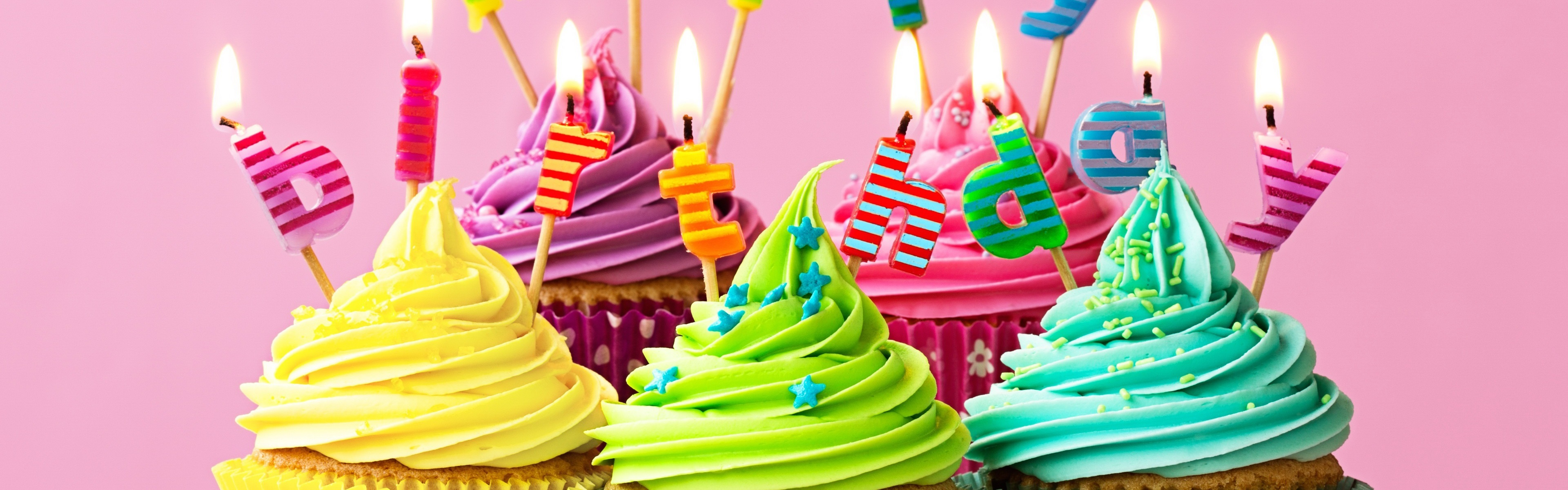 Wallpaper Happy Birthday Candles Fire Colorful Cupcakes