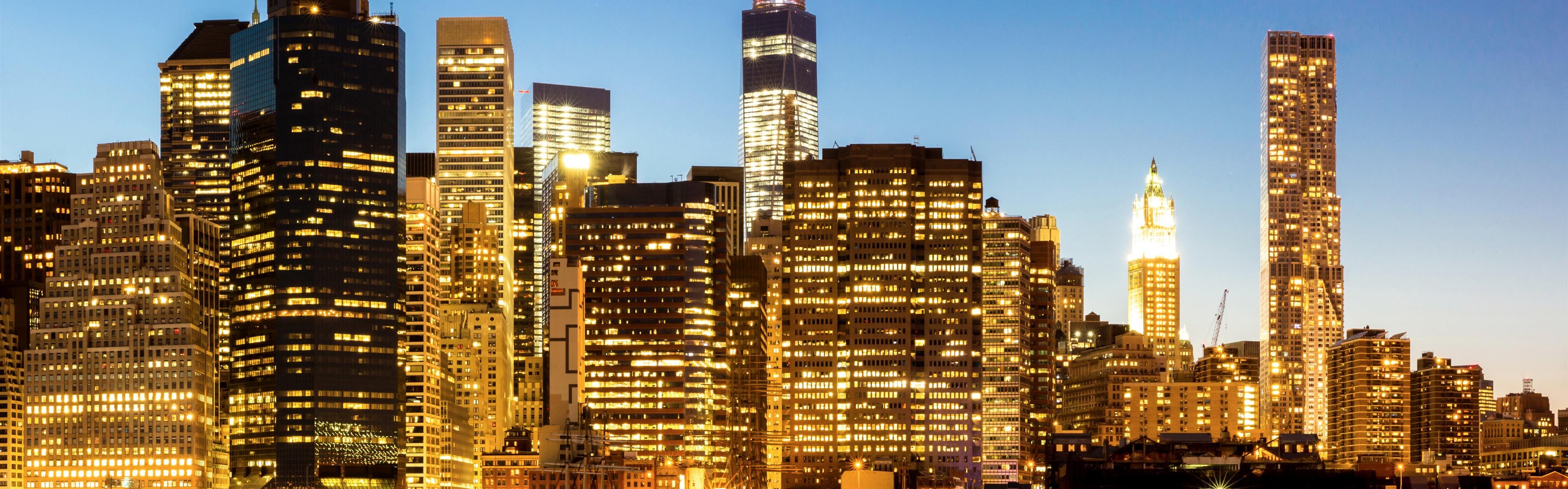 Обои тучи, небоскребы, manhattan, здания, skyline, new york city, освещение. Города foto 11