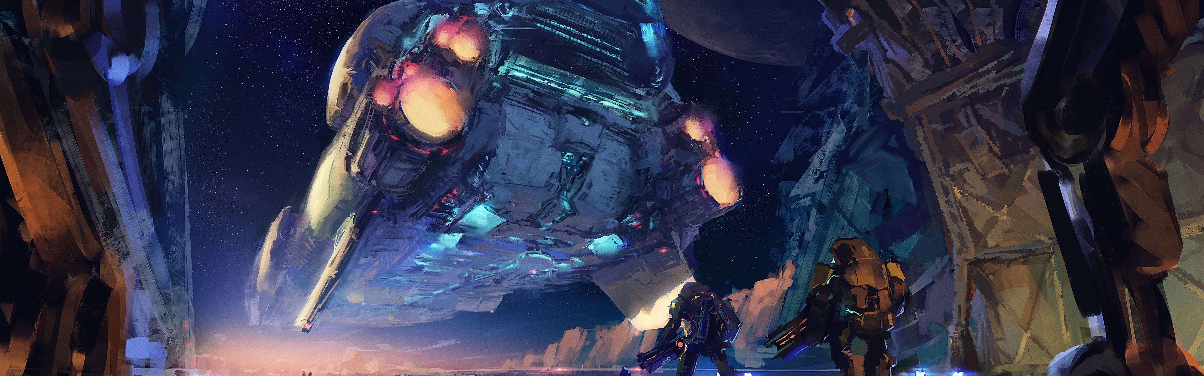 Wallpaper Art Picture Spaceship Robots Sci Fiction 3840x1200 Multi Monitor Panorama Picture Image