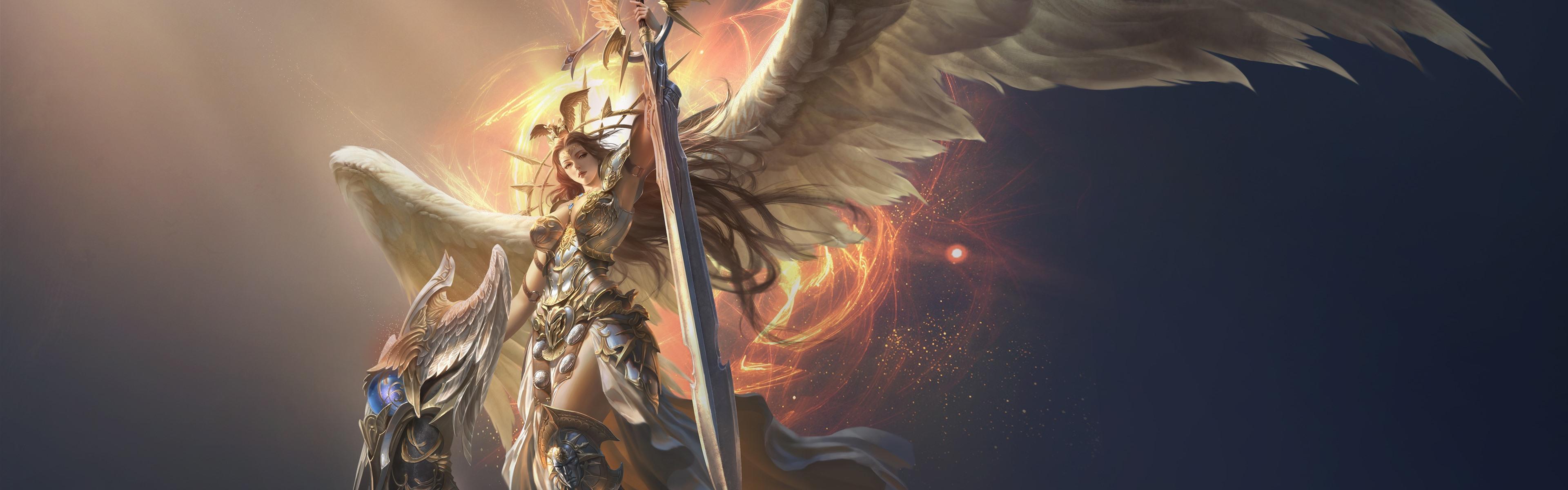 League Of Angels Beautiful Angel Wings Sword 1242x2688 Iphone
