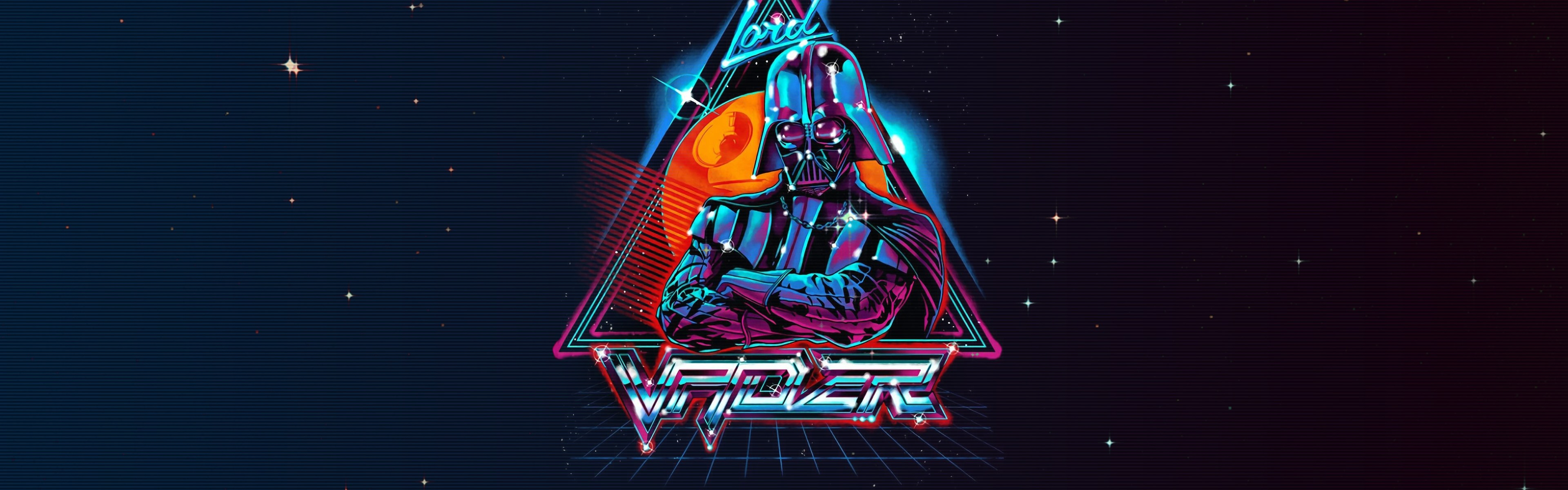 Wallpaper Star Wars Darth Vader Art Picture Black Background 3840x1200 Multi Monitor Panorama Picture Image
