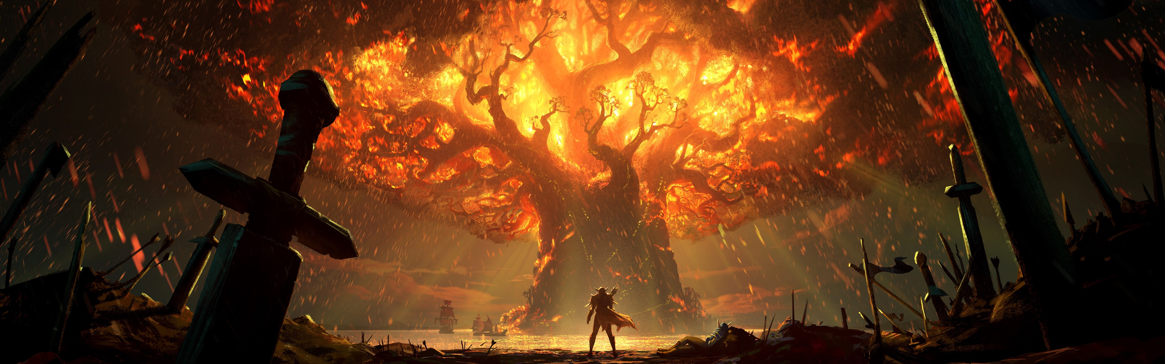 Wallpaper World Of Warcraft Battle For Azeroth Flame Tree