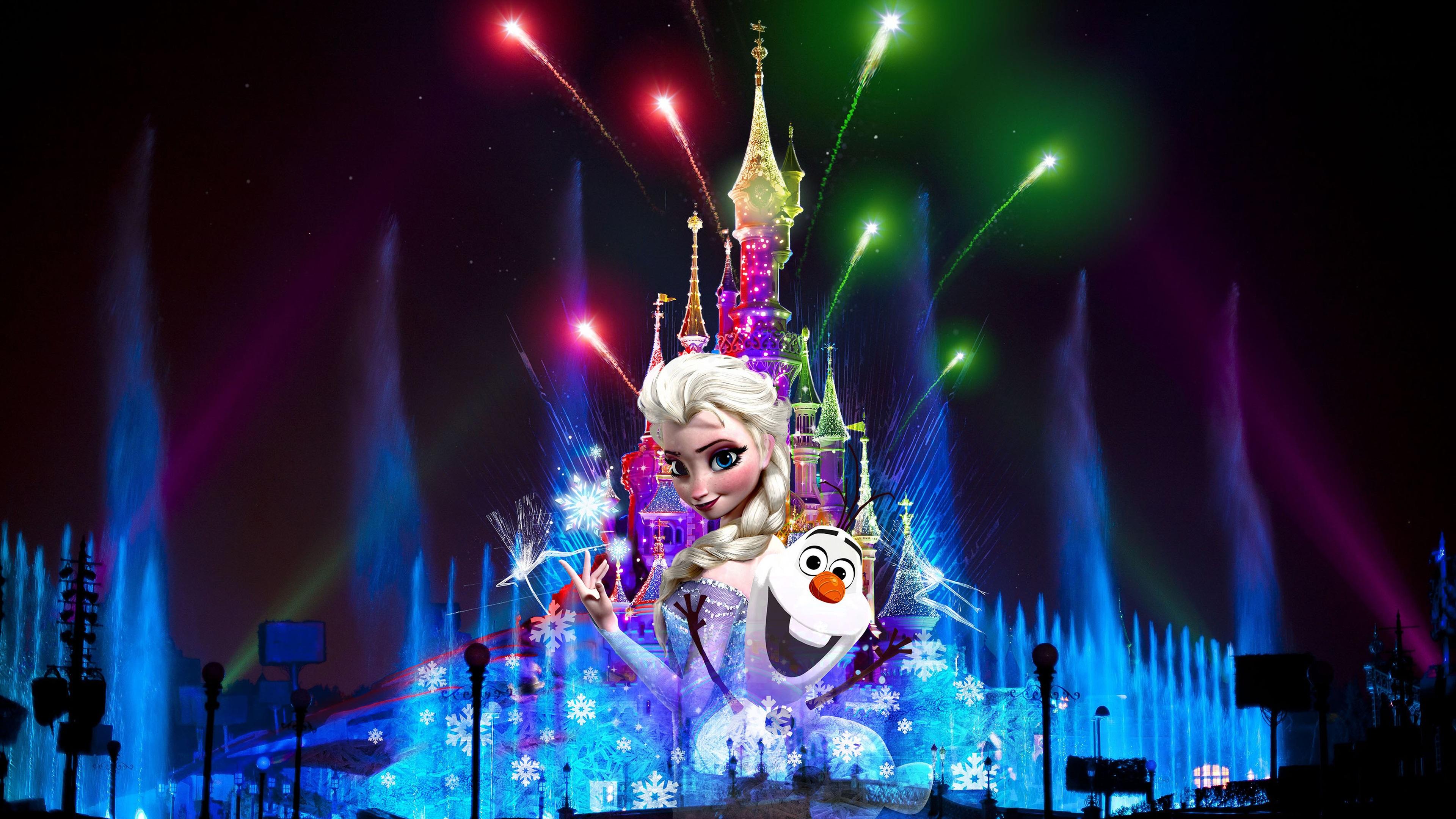 France Paris Disneyland at night beautiful fireworks