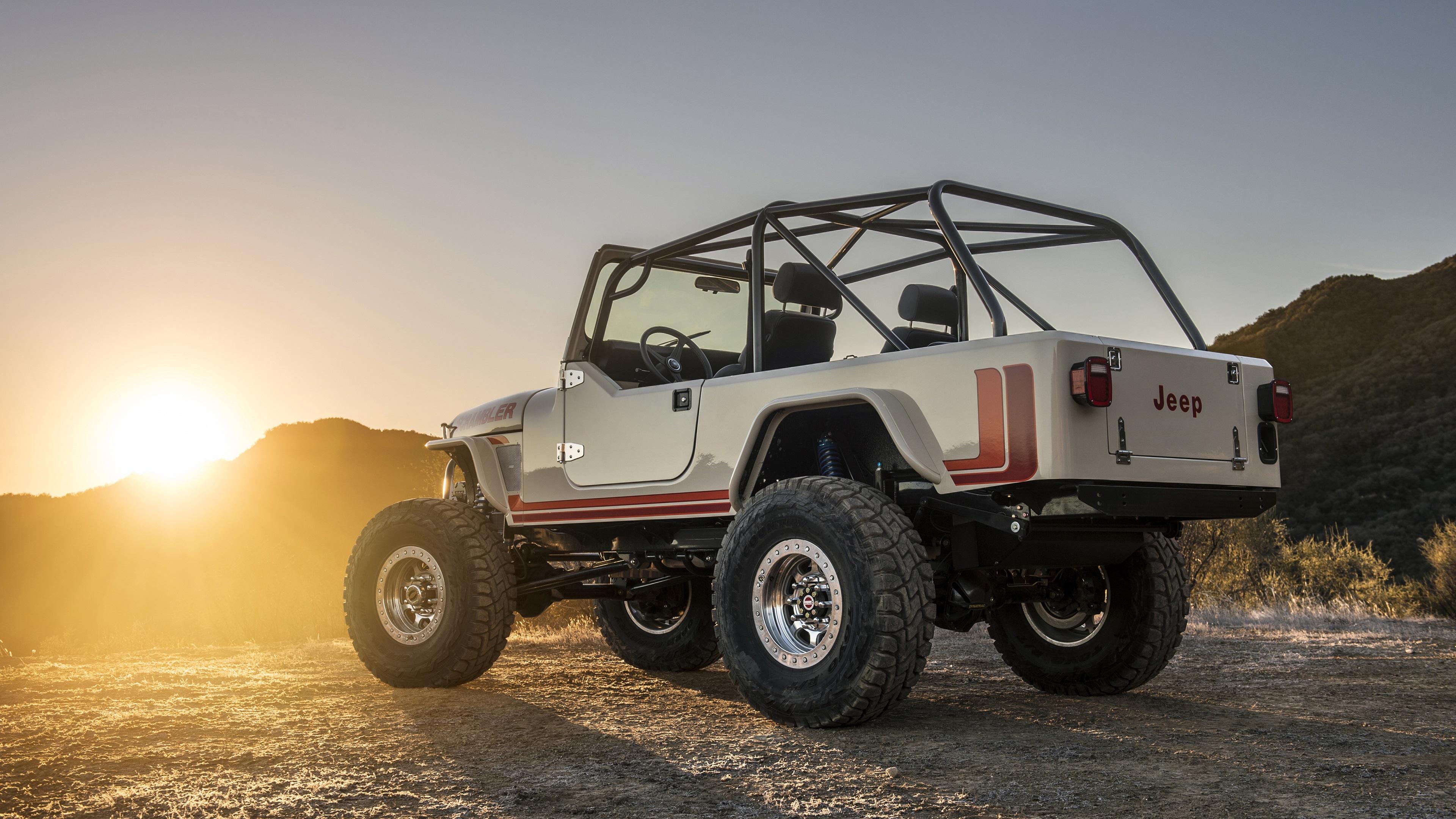 Wallpaper Jeep Cj 8 Scrambler Suv Back View Sunset 3840x2160 Uhd 4k