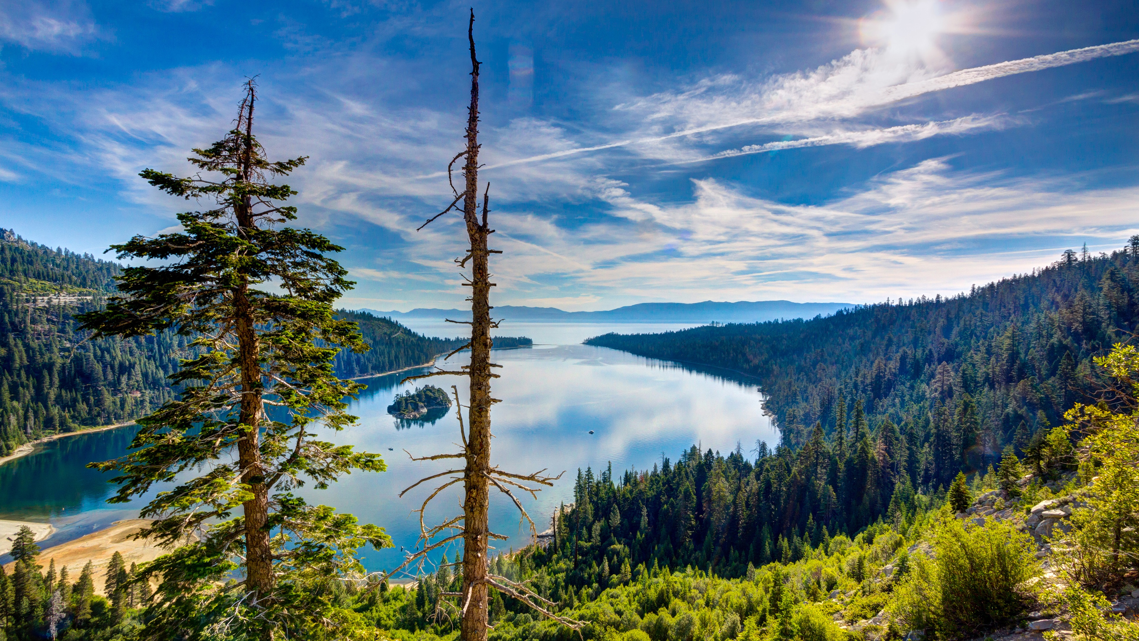 Wallpaper Lake Tahoe California Usa Top View Forest 3840x2160