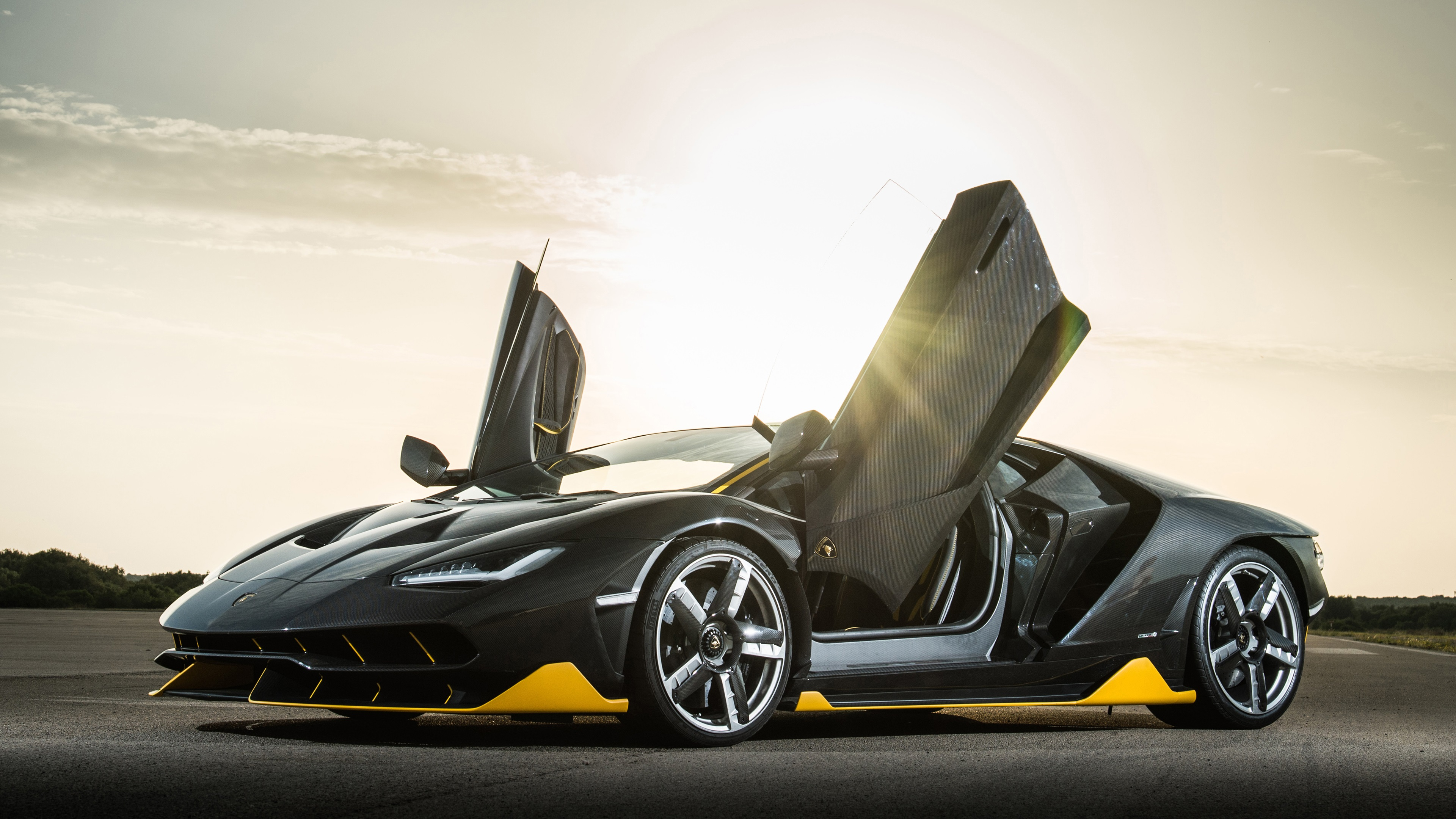 Wallpaper Lamborghini Centenario Black Coupe Doors Opened Sun Rays