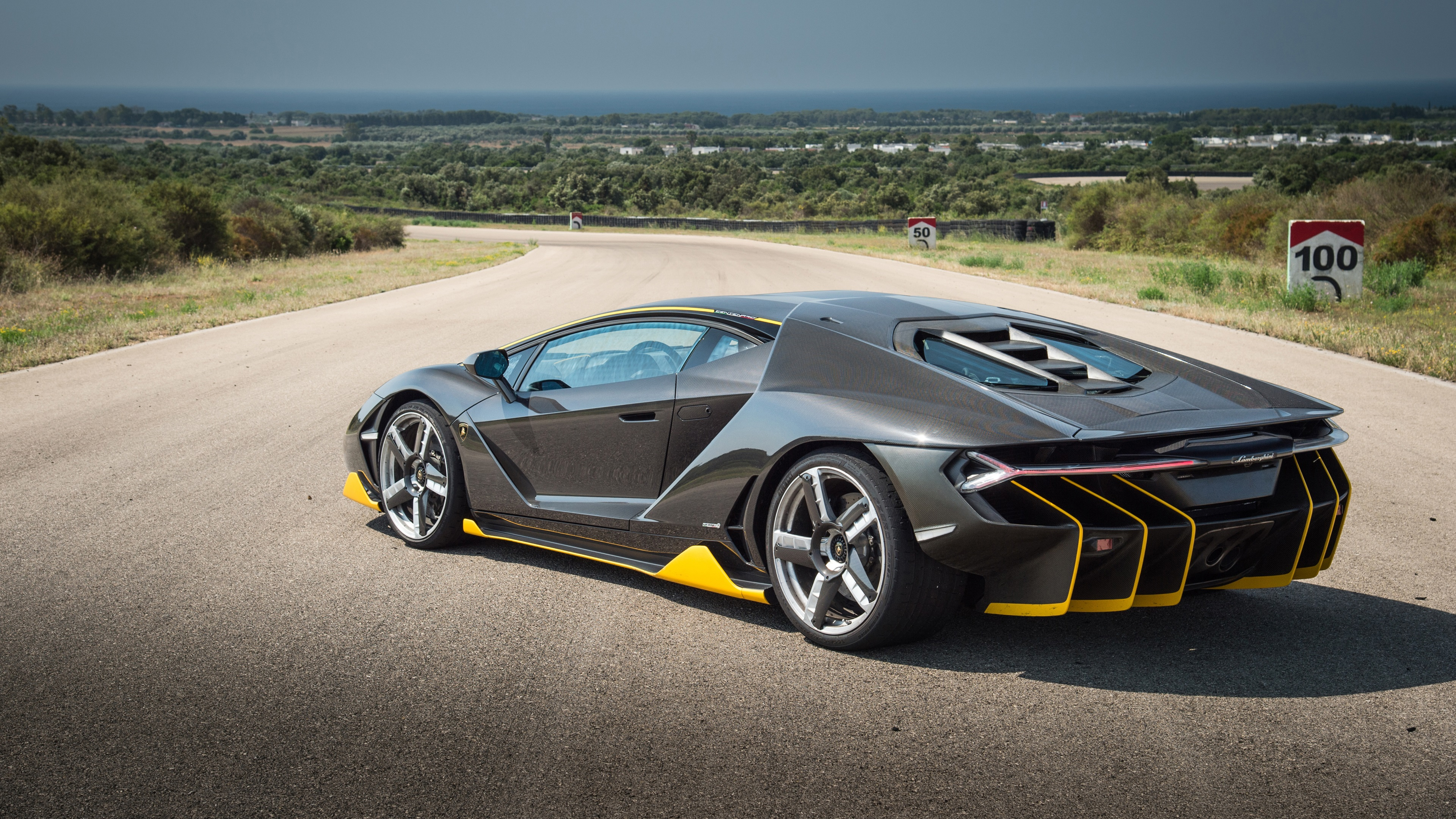 Wallpaper Lamborghini Centenario Black Supercar Back View 3840x2160