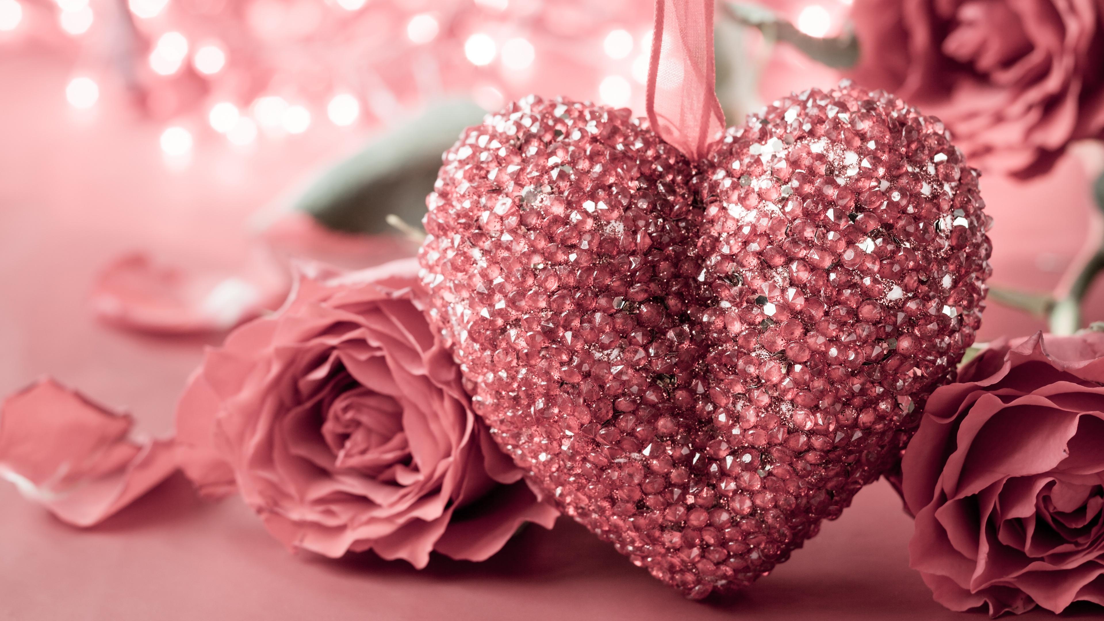 Fonds D'écran Jour, Coeur D'amour De Style Rose De