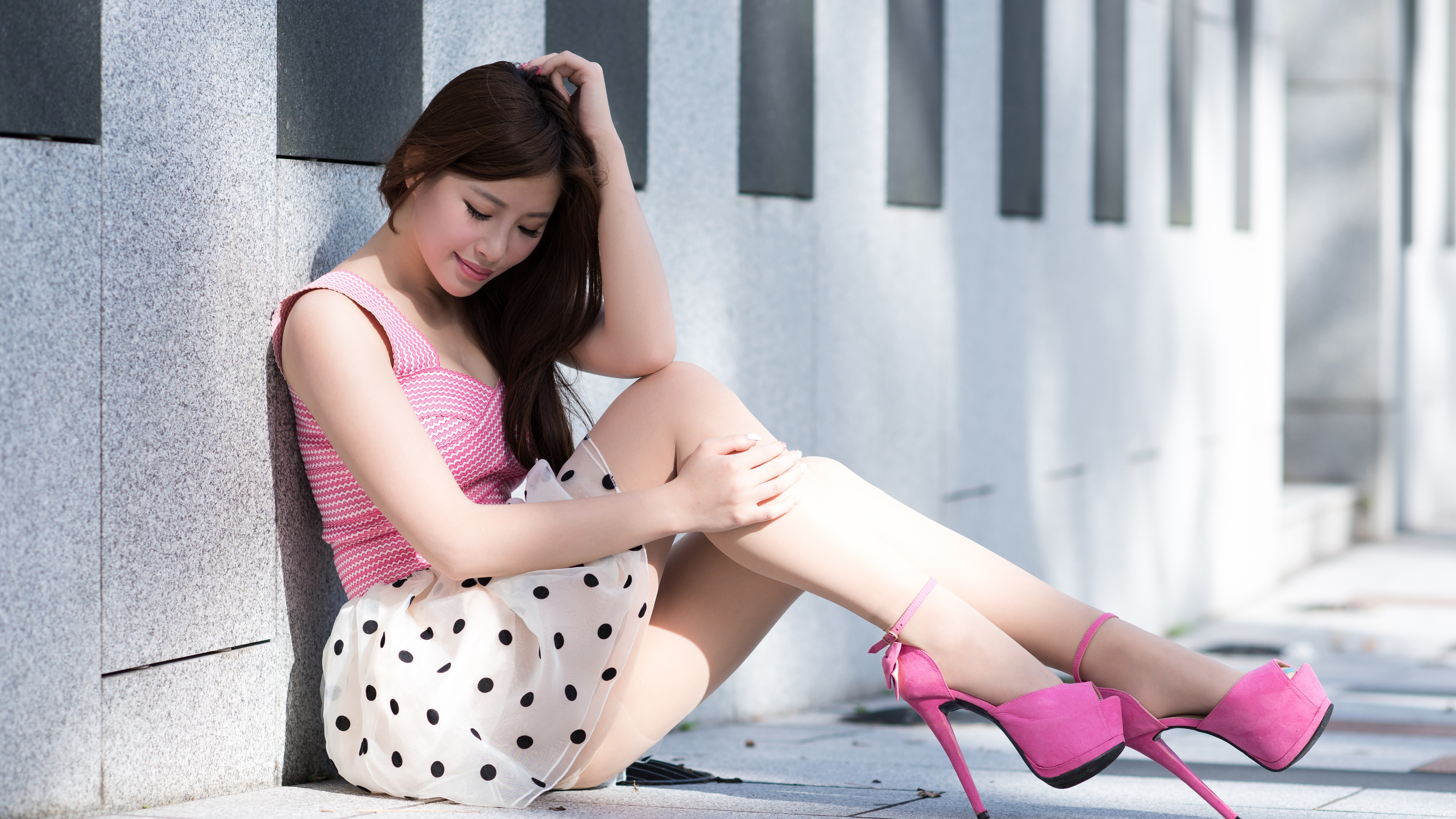 Wallpaper asian girl sit at floor skirt legs heels summer 3840x2160 uhd 4k picture image - Asian schoolgirl wallpaper ...