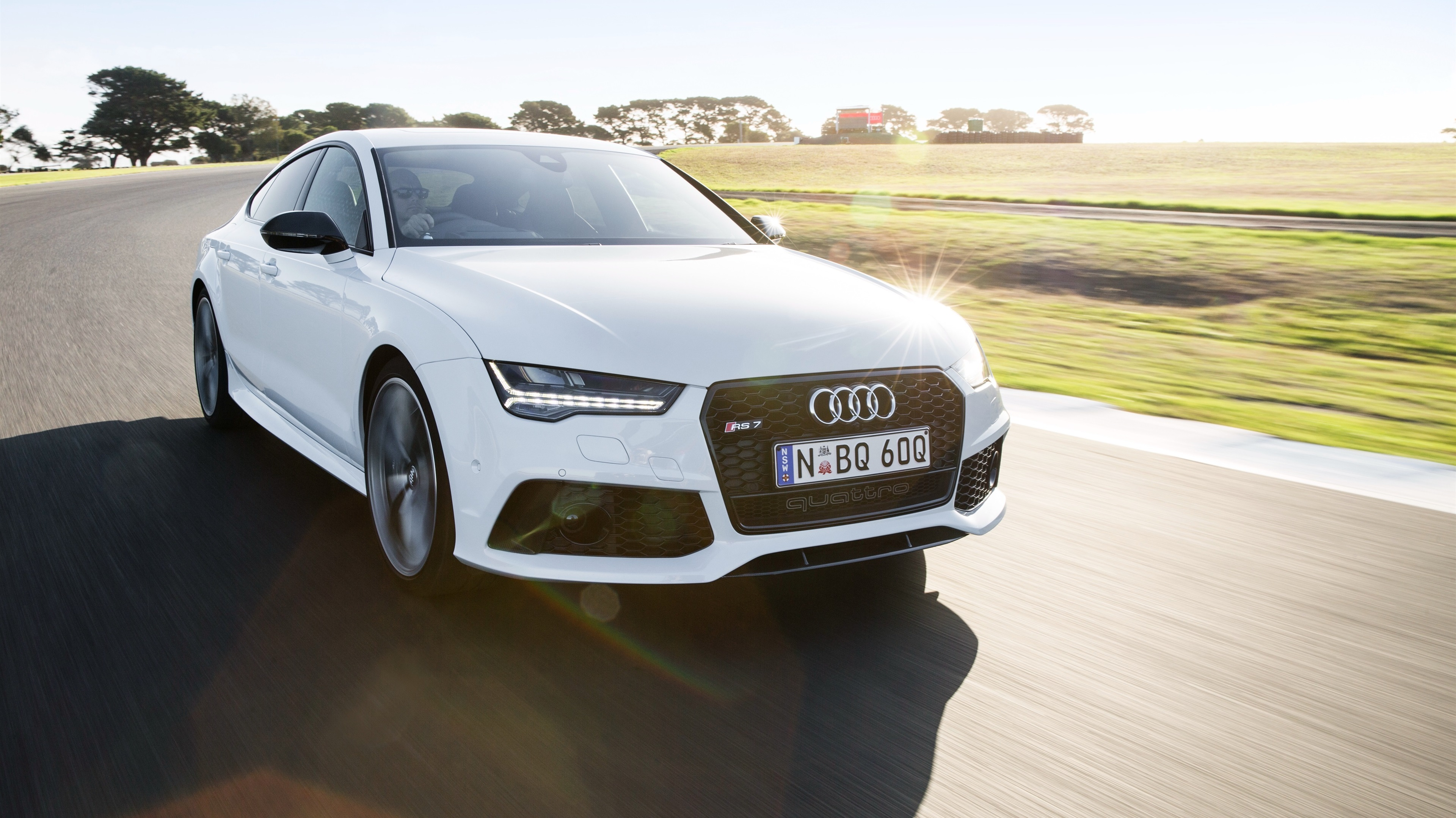 Wallpaper Audi RS7 White Car Speed 3840x2160 UHD 4K Picture Image