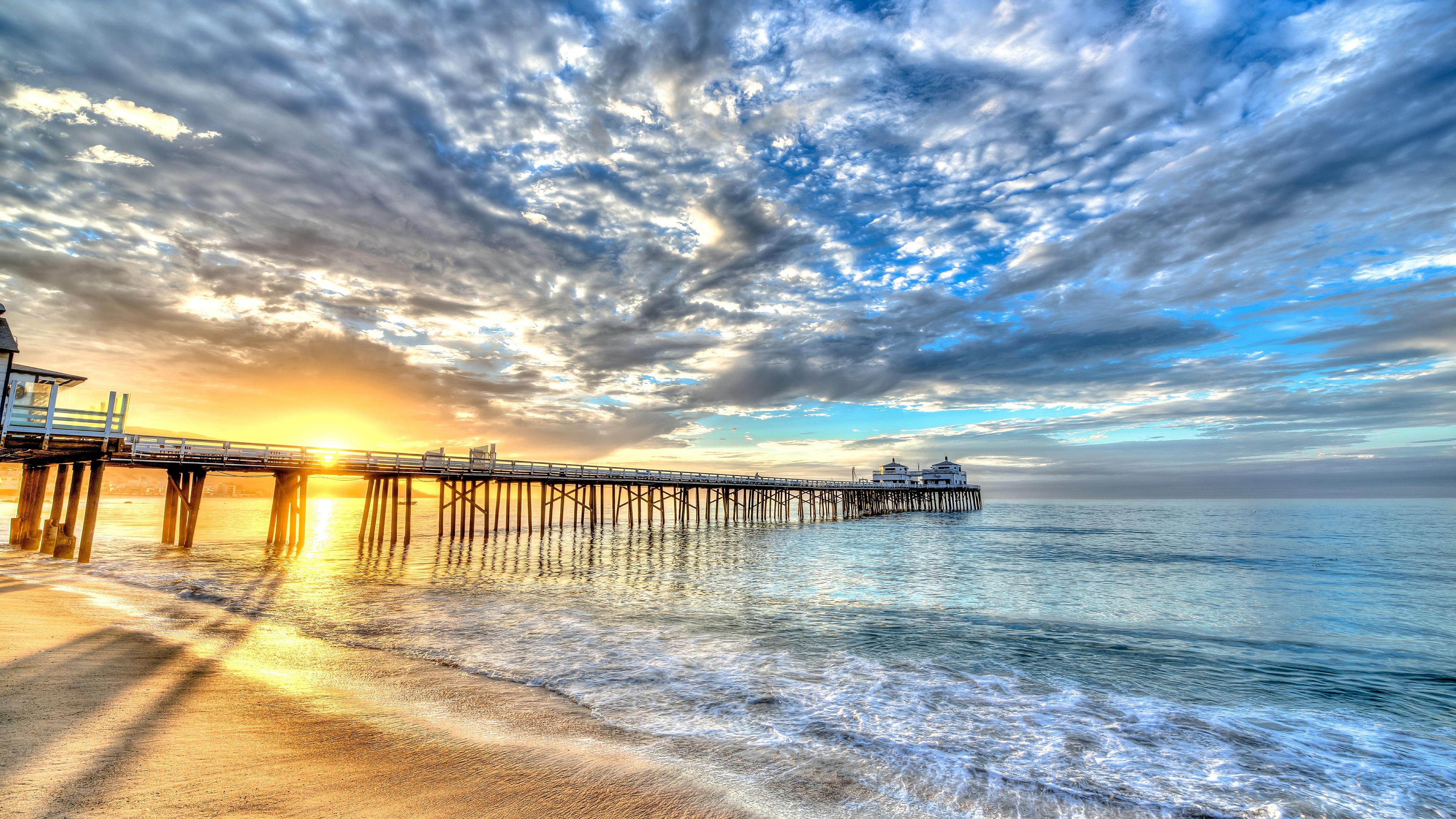 Strand, Küste, Meer, Brücke, Gebäude, Wolken, Sonnenuntergang ... Sea