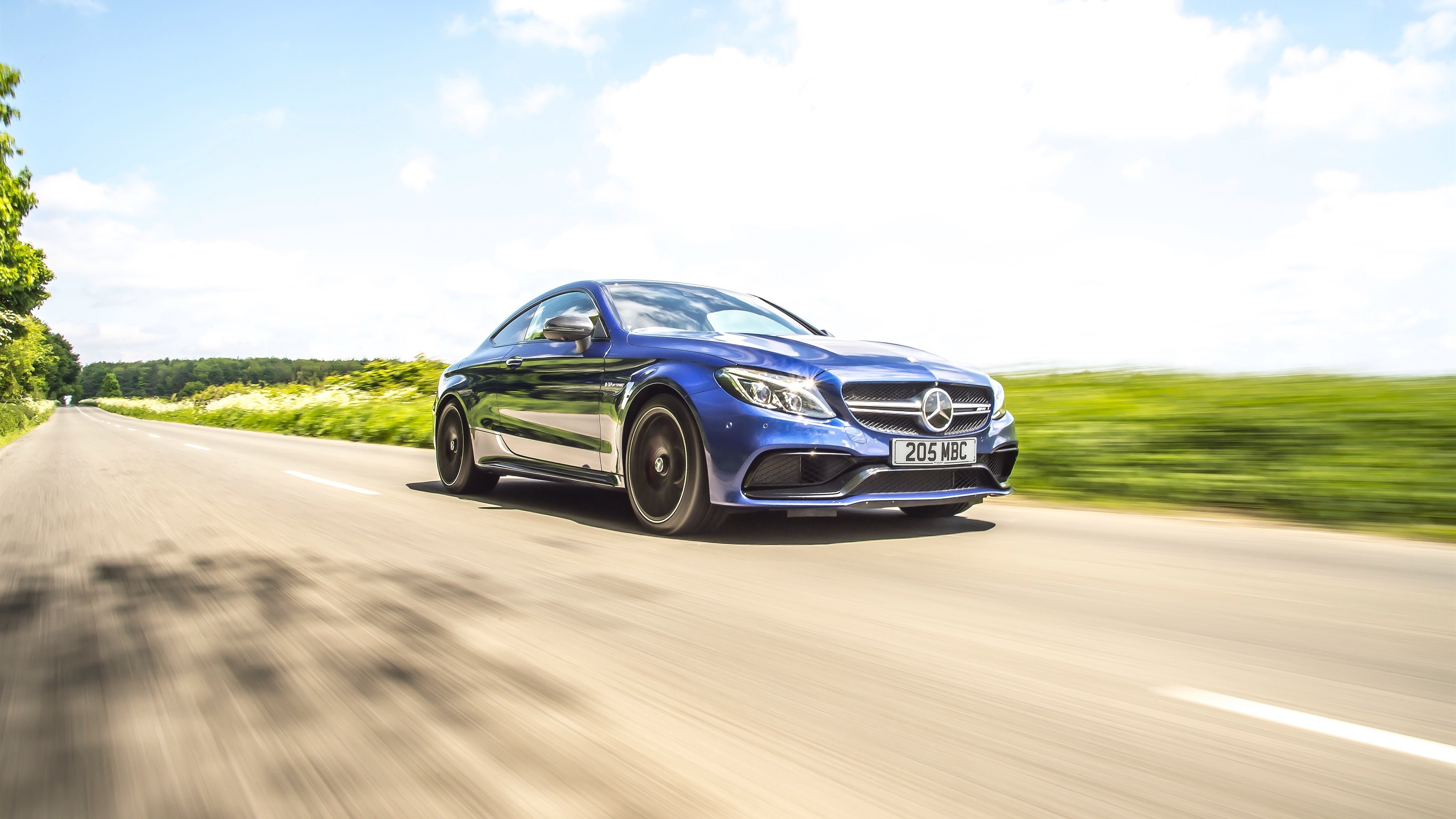 Wallpaper Mercedes Benz Amg C63 Blue Coupe Speed 3840x2160