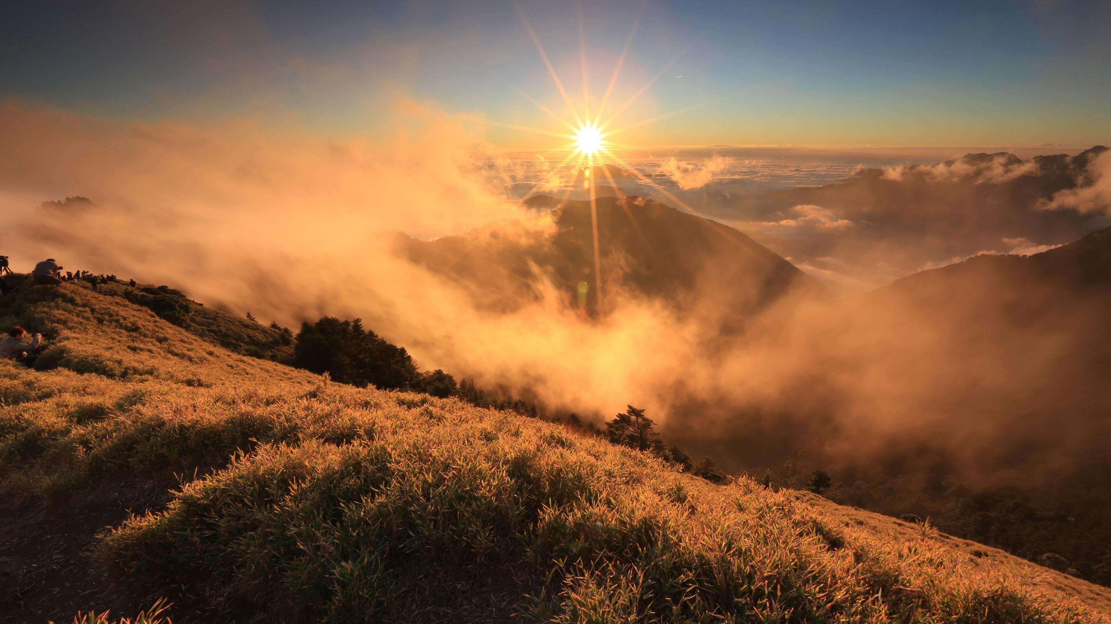 Wallpaper Morning Sunrise Landscape Clouds Mountain Grass