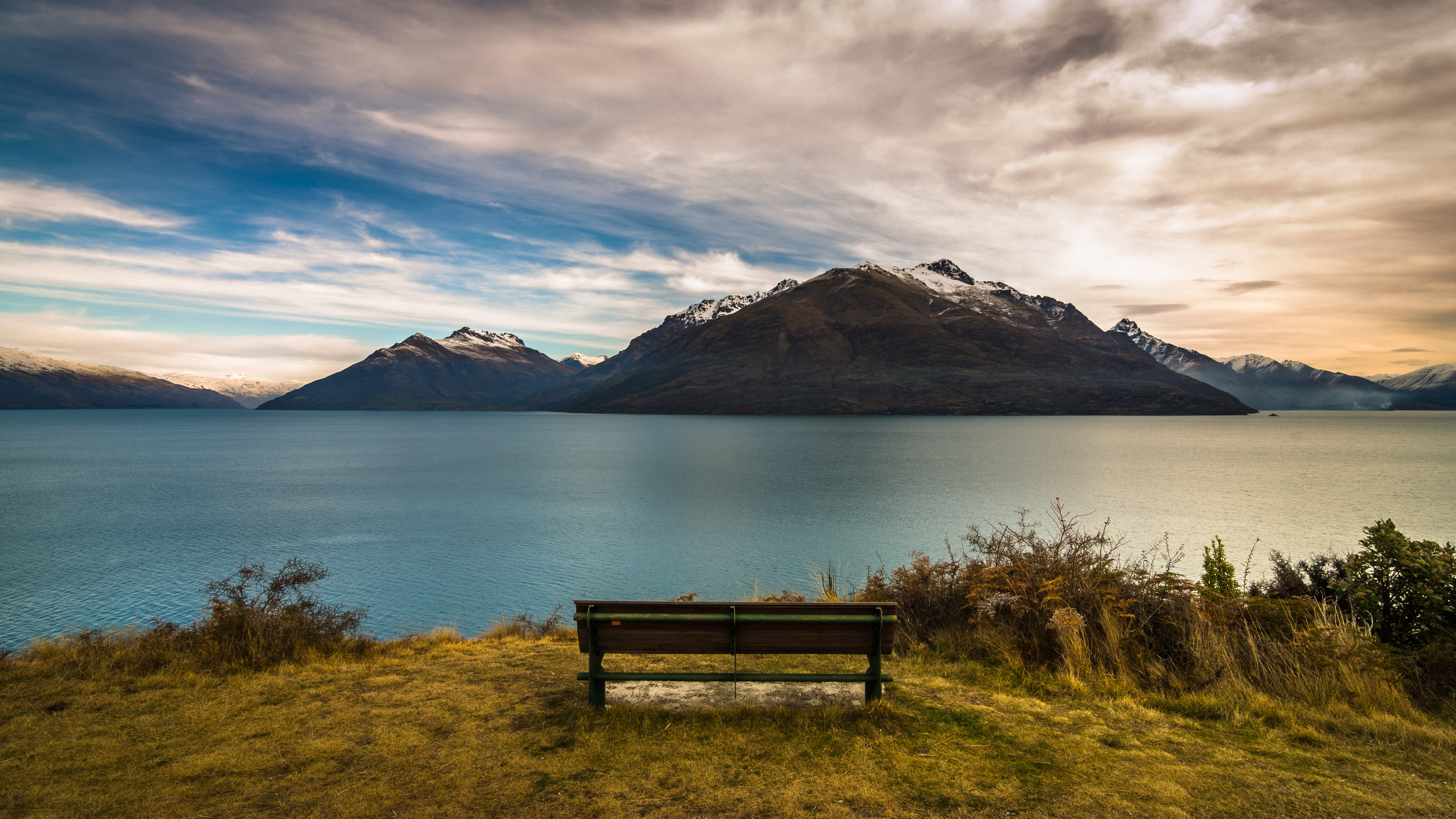 Wallpaper New Zealand Queenstown Mountains Lake Bench Dusk 3840x2160 Uhd 4k Picture Image