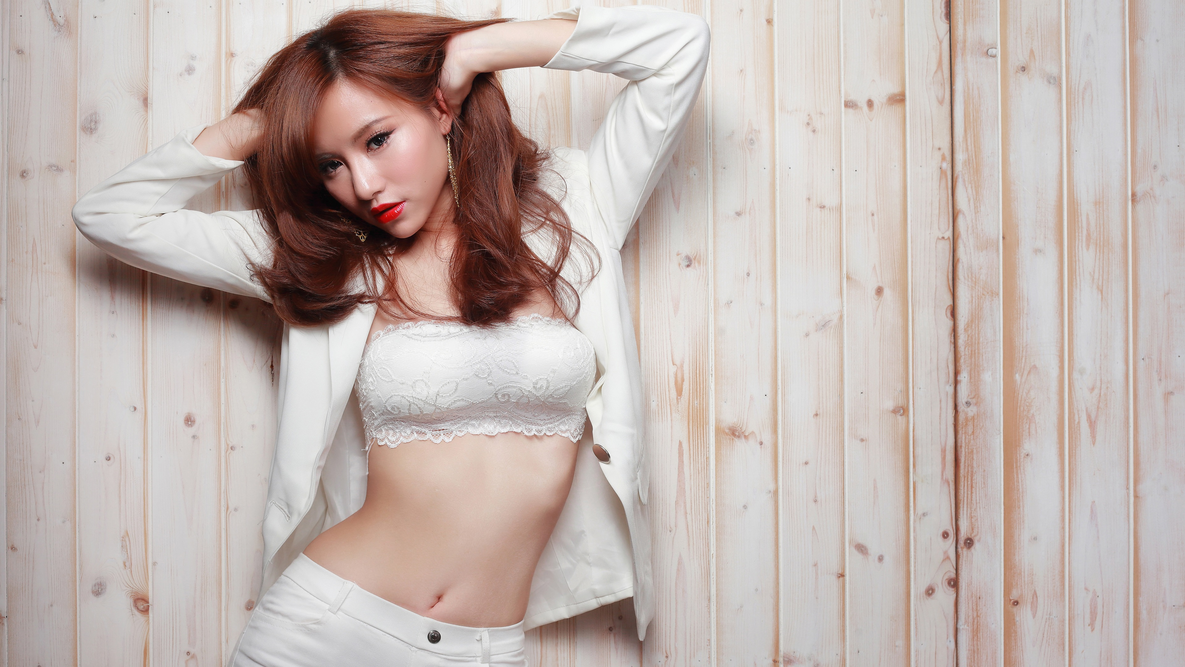 Kleid Uhd MädchenPoseMake Lippen 3840x2160 Weißes UpRote Asian b6yf7gY