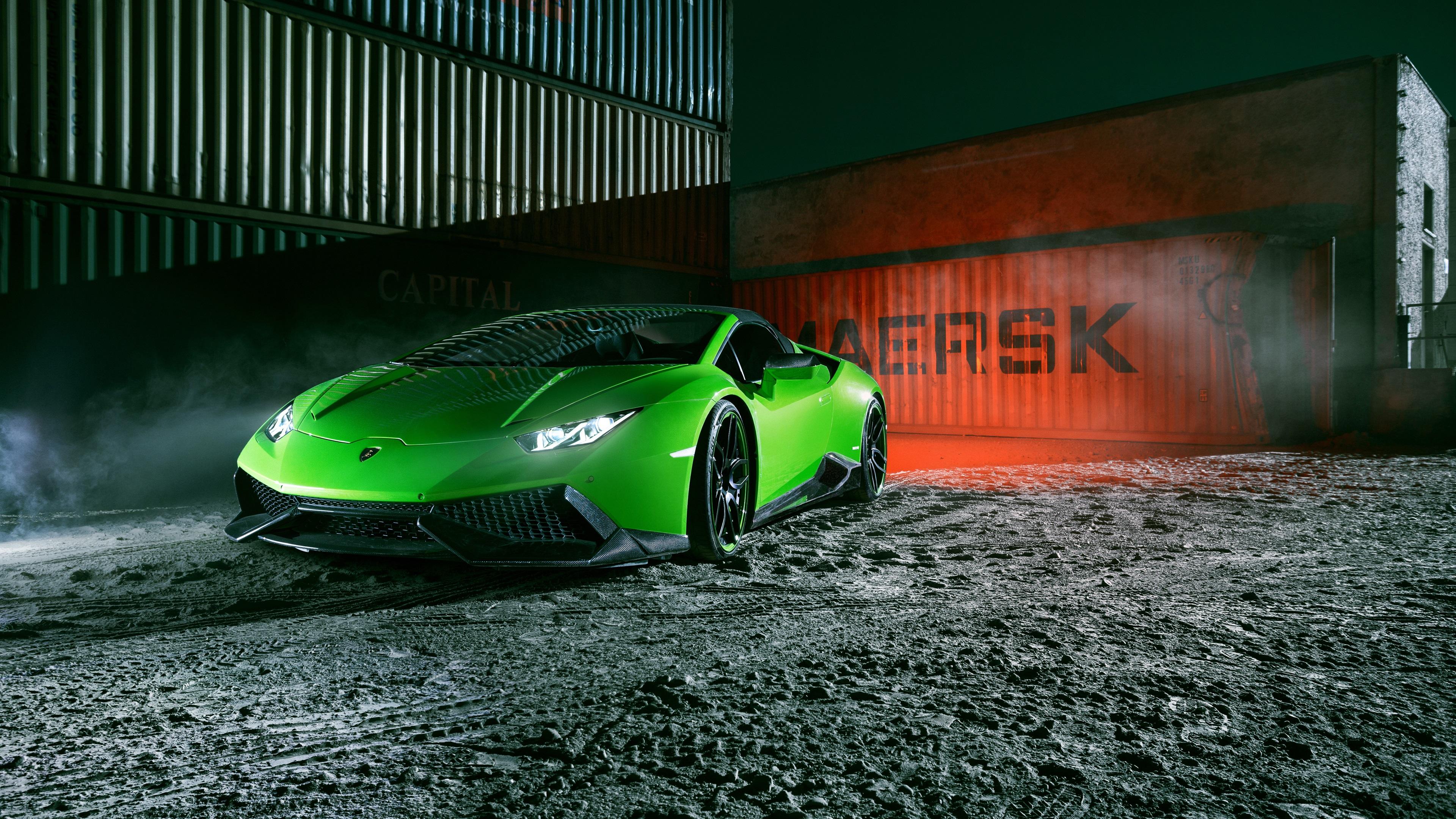 Lamborghini Huracan Spyder Green Supercar Front View Night