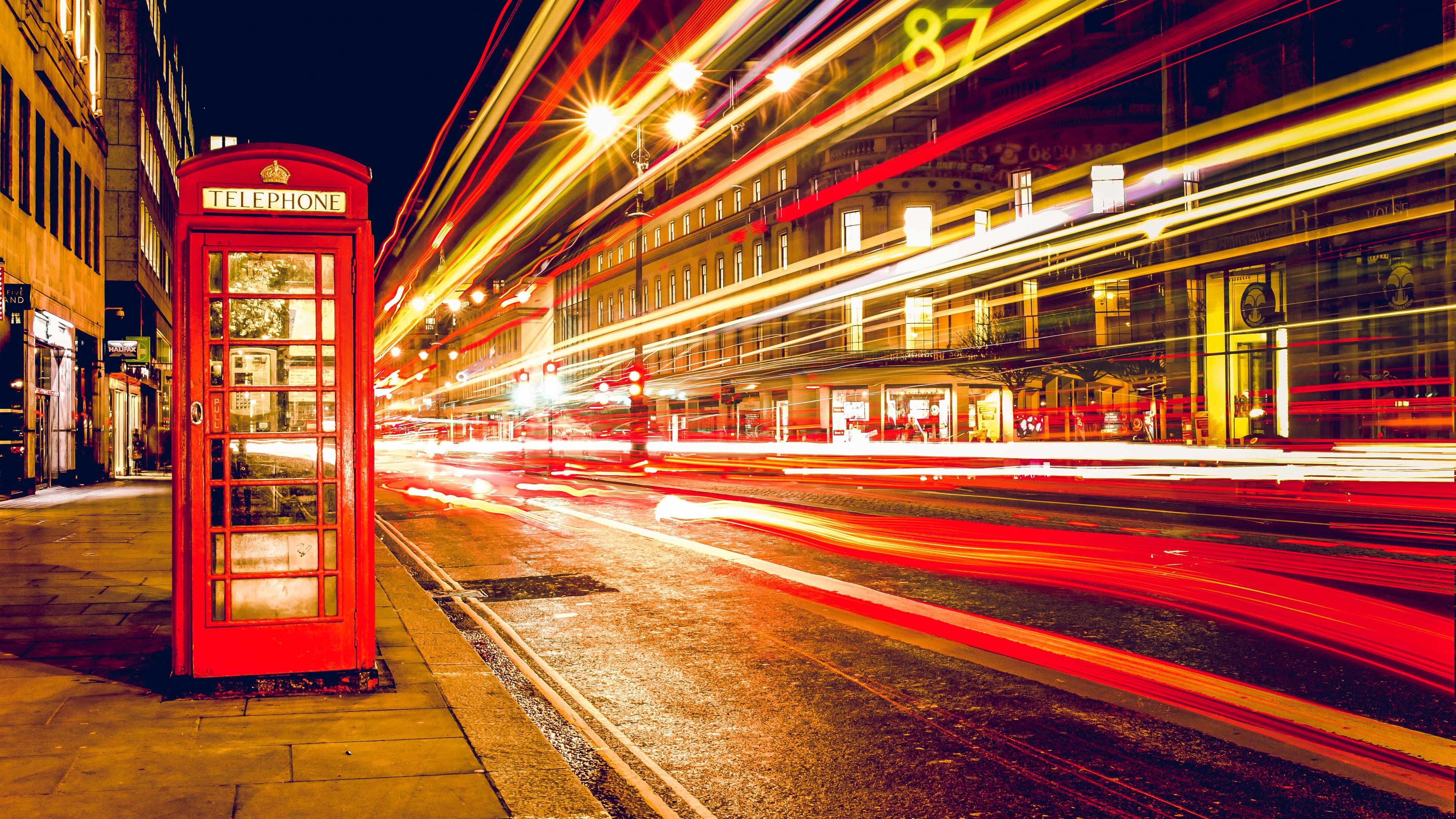 Wallpaper London England Telephone Booth Street Nights