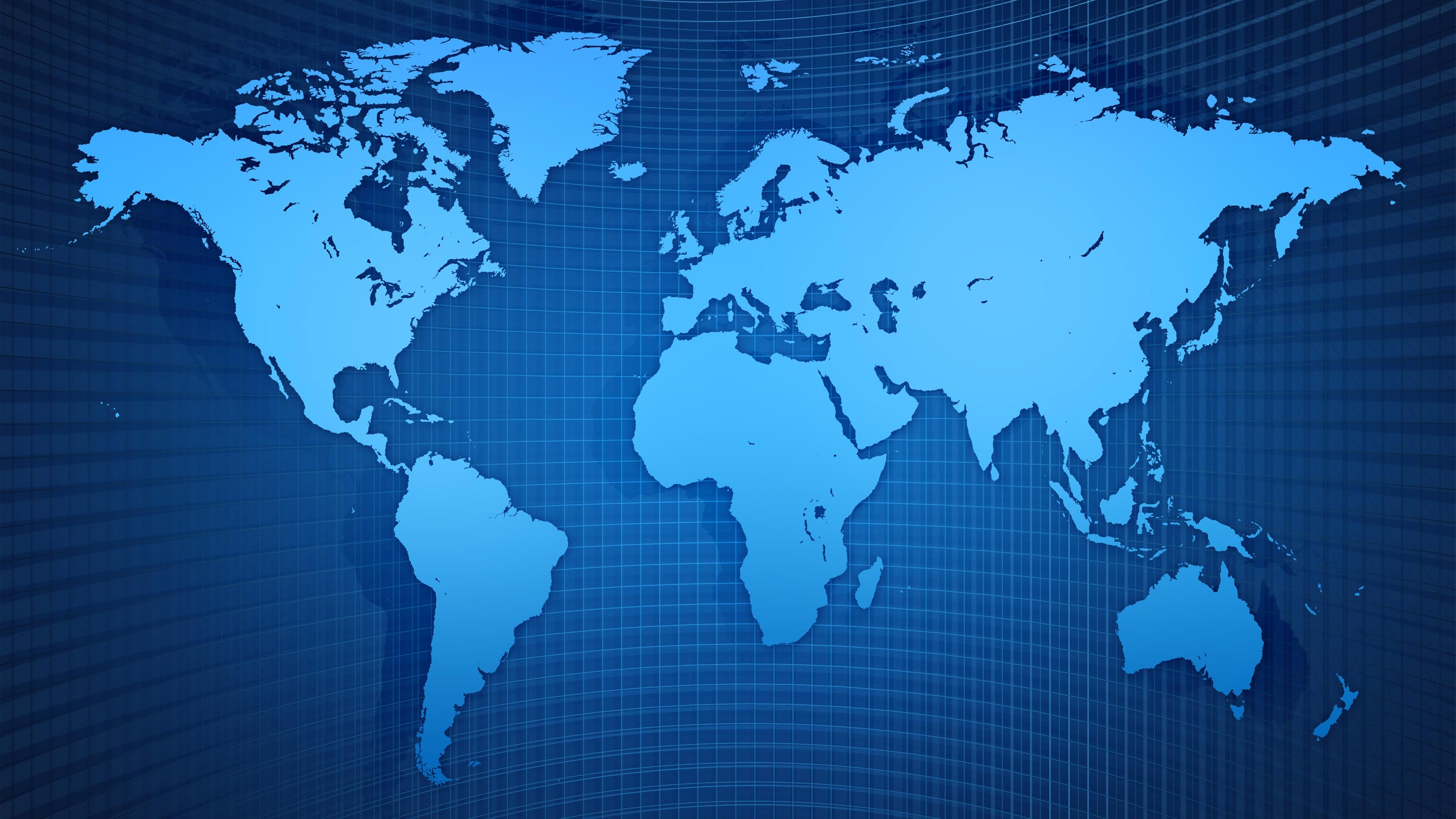 Wallpaper World Map Grid Blue Style 3840x2160 Uhd 4k Picture Image