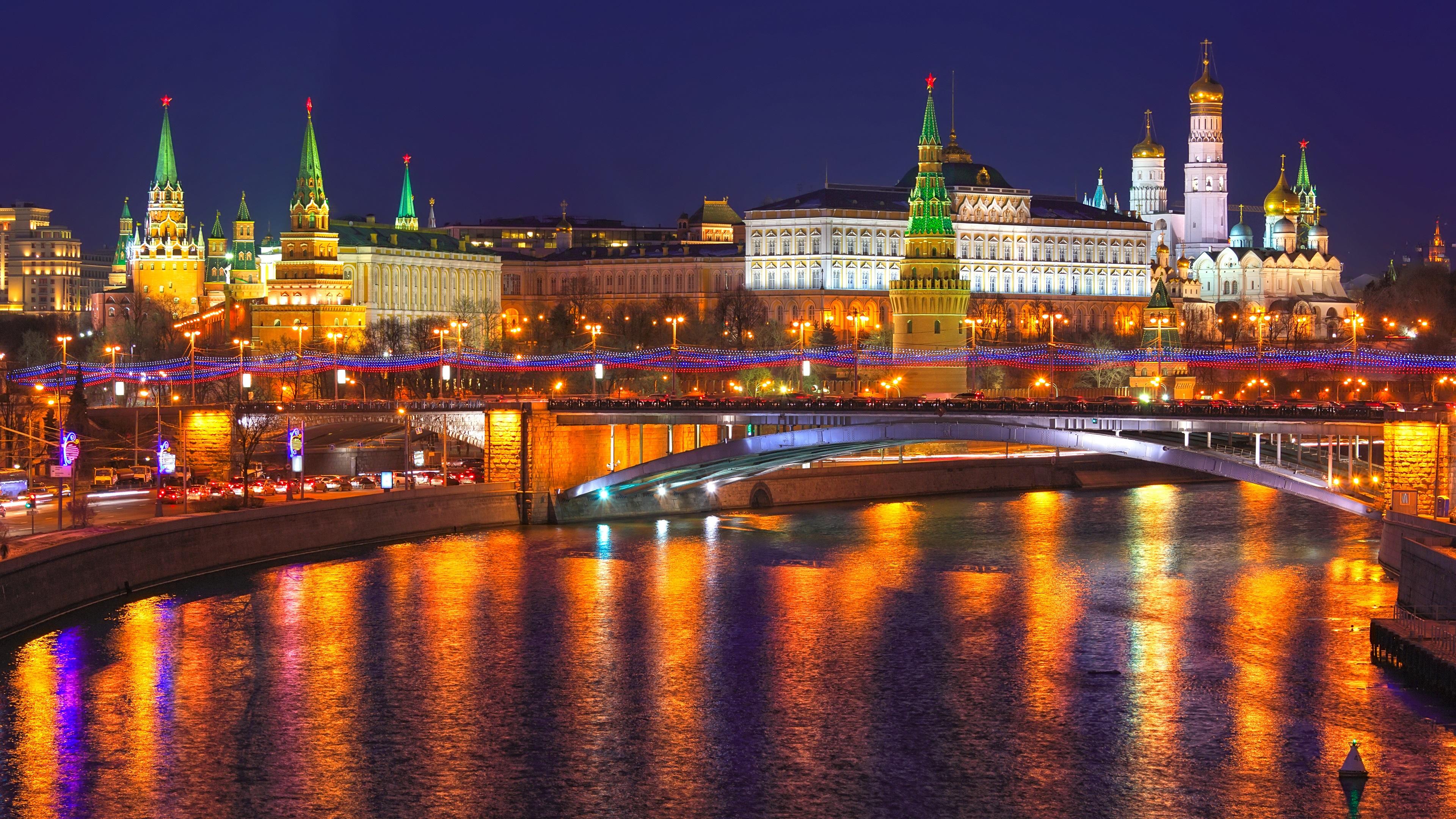 Wallpaper Moscow Russia City Night Kremlin River Lights