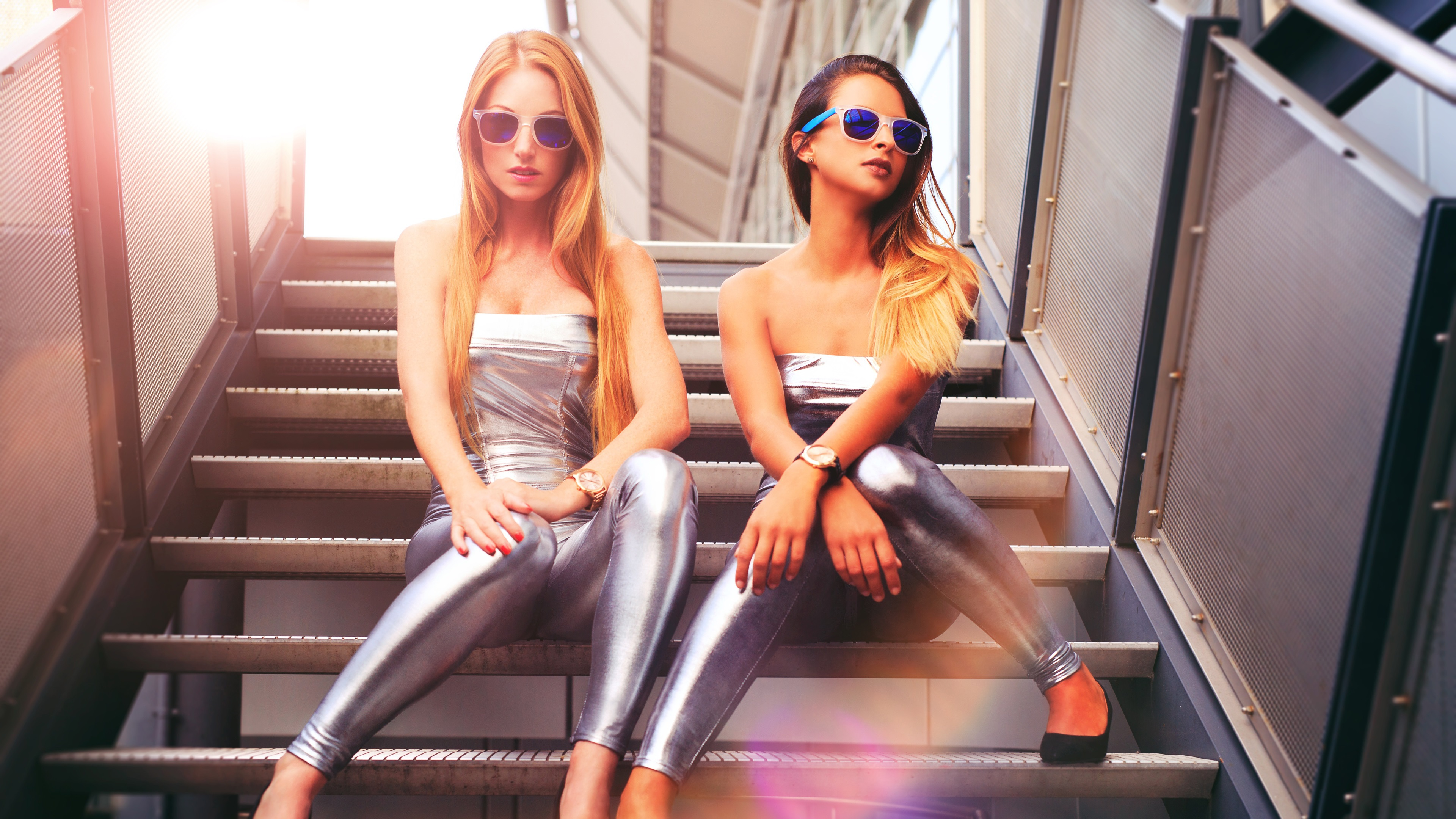 Wallpaper Silver Dress Girls Sit At Stairs Glasses Blonde