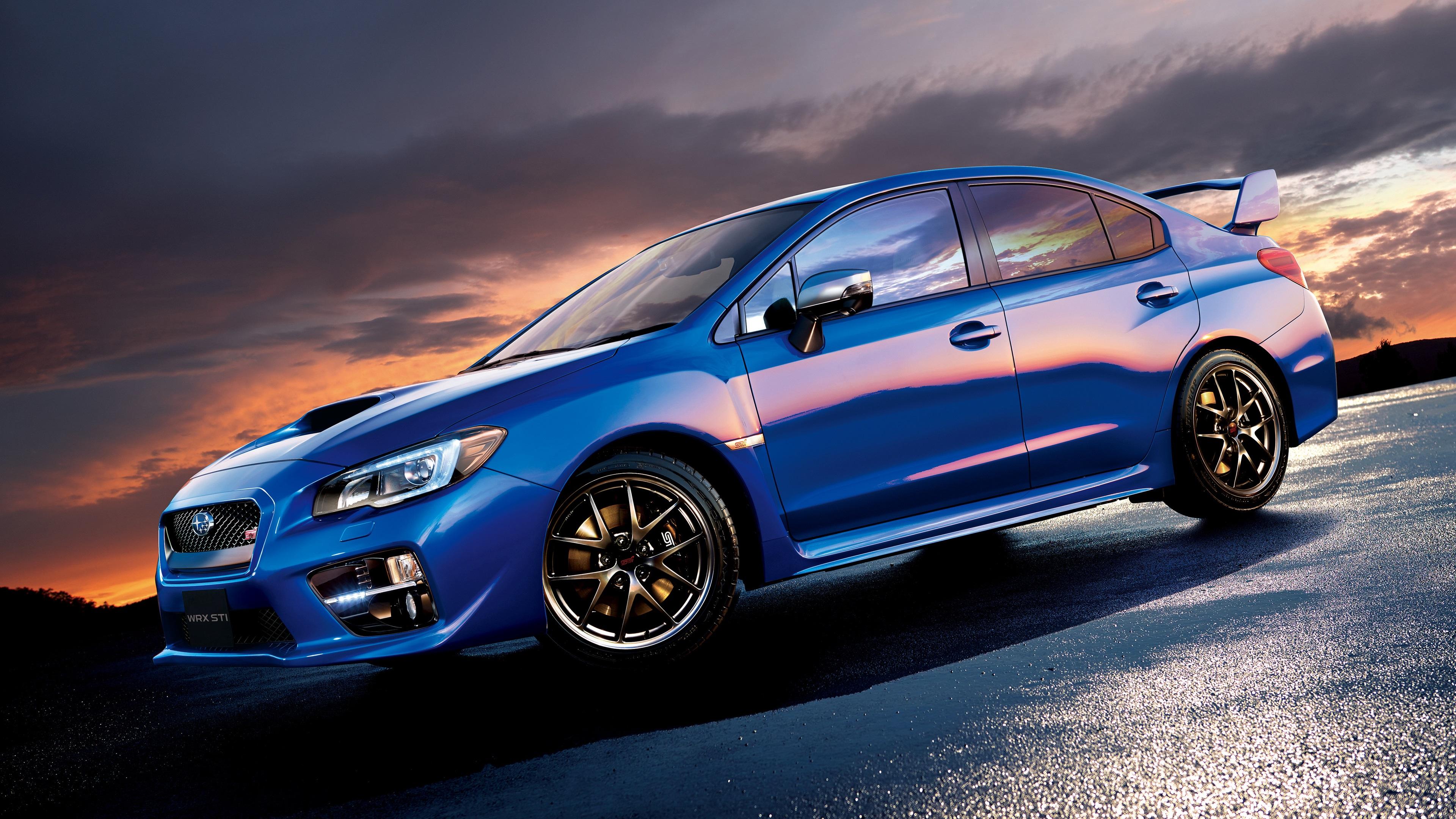 壁紙 スバルsti Wrx青い車の側面図 3840x2160 Uhd 4k 無料の
