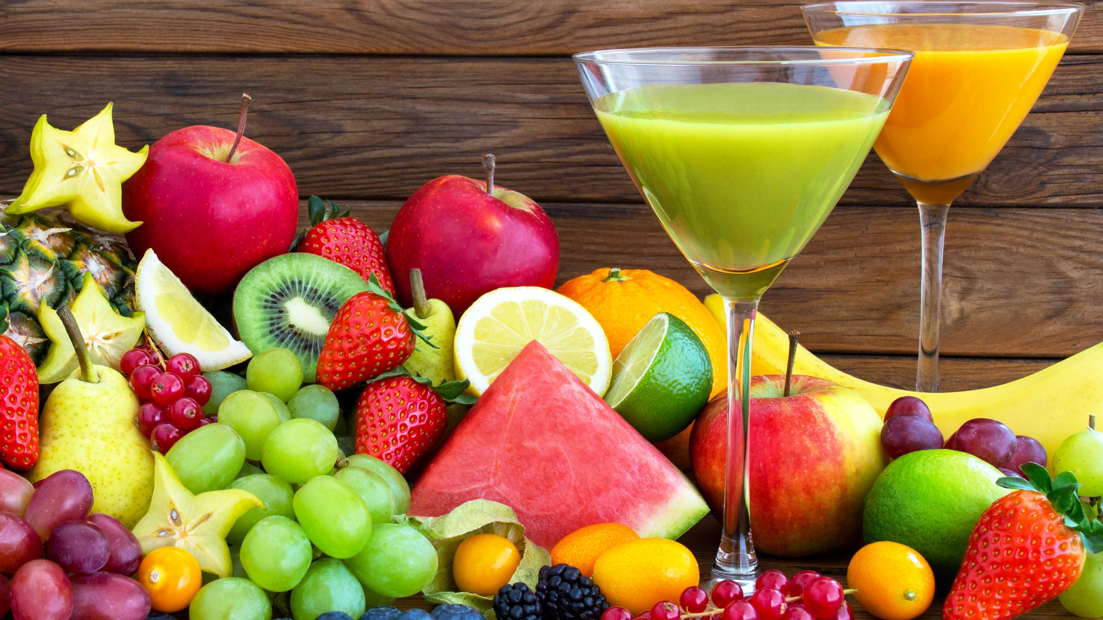 Viele Früchte, leckeres Essen, Getränke 3840x2160 UHD 4K ...