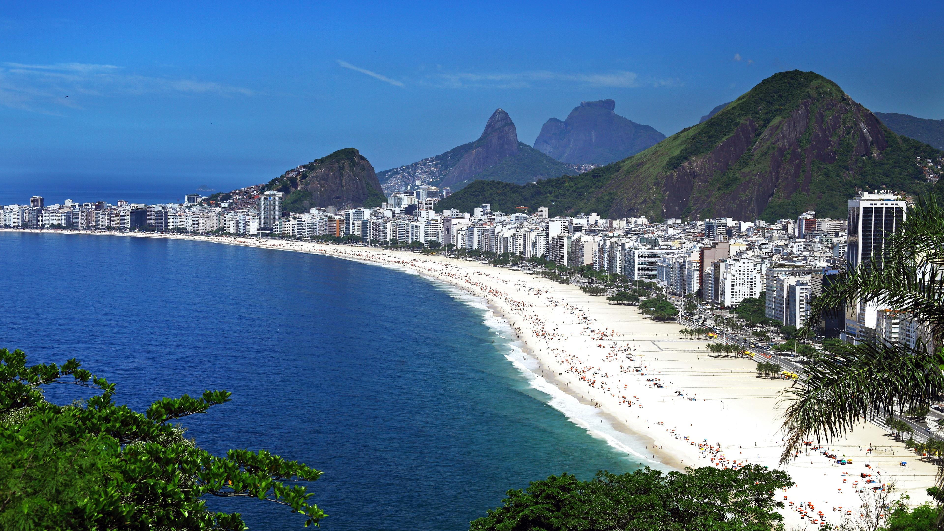 Wallpaper Brazil Rio De Janeiro City Buildings Beach People