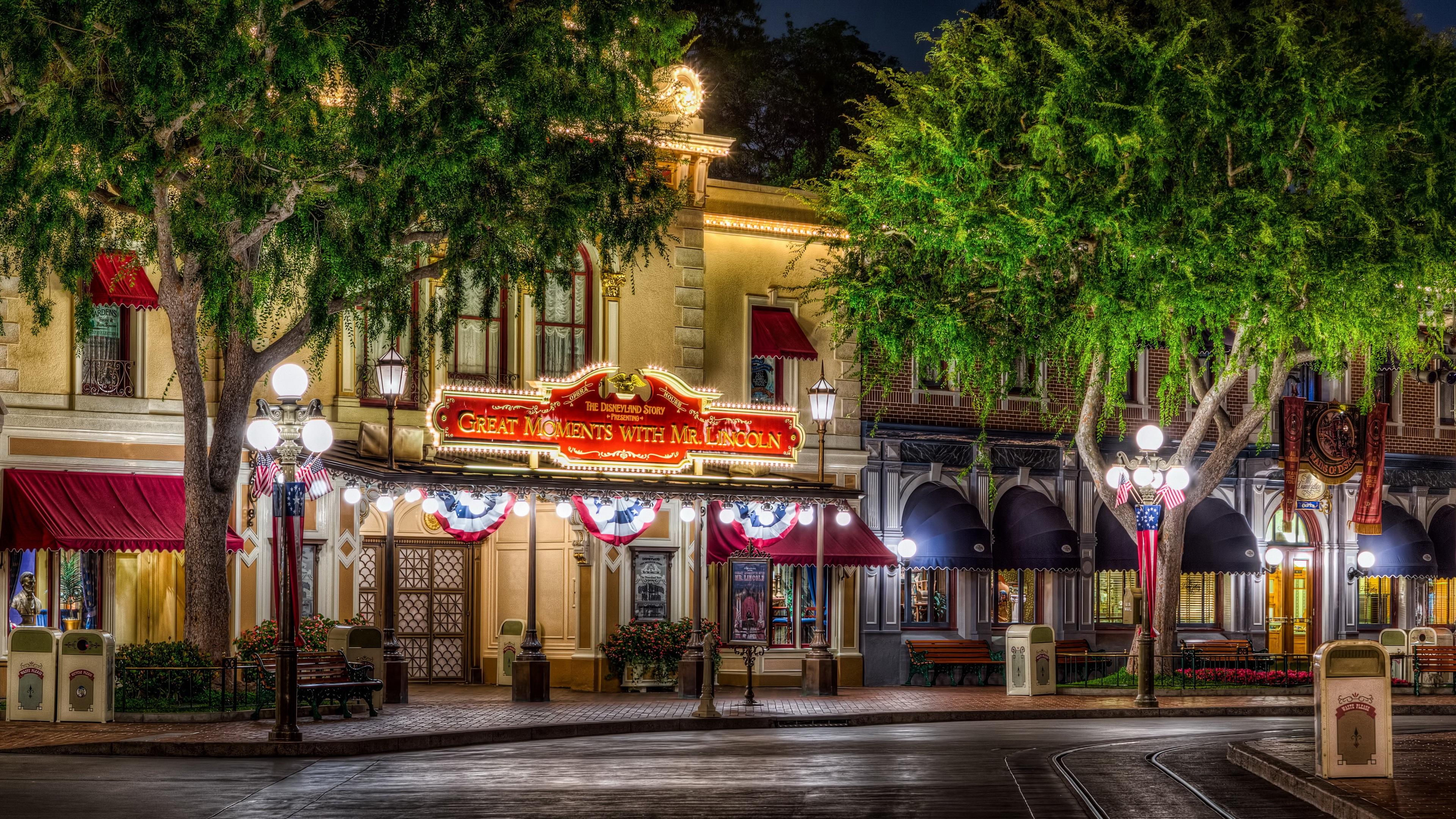 Disneyland city street trees night lights