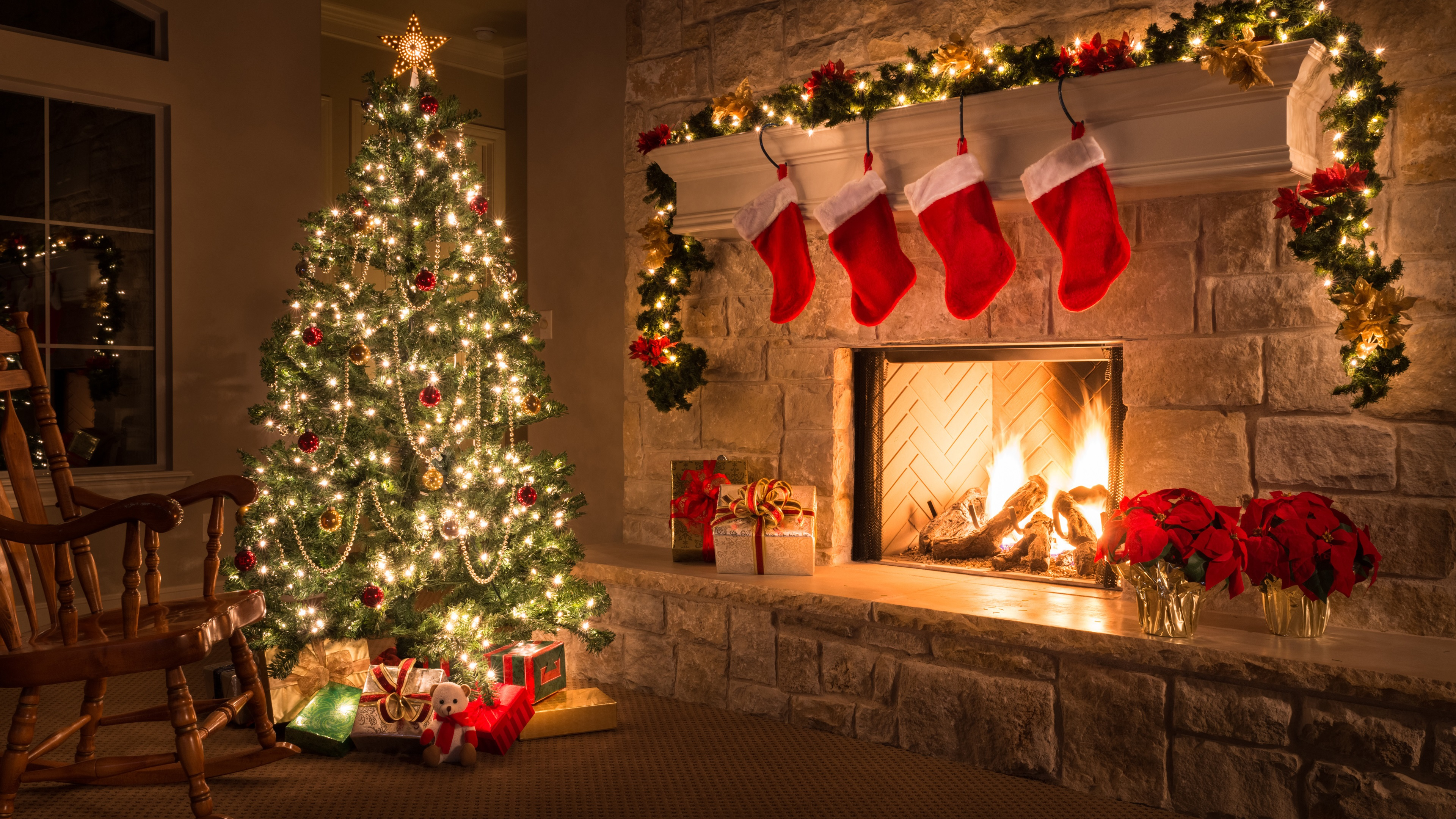 Wallpaper Merry Christmas, home, fireplace, tree, gifts