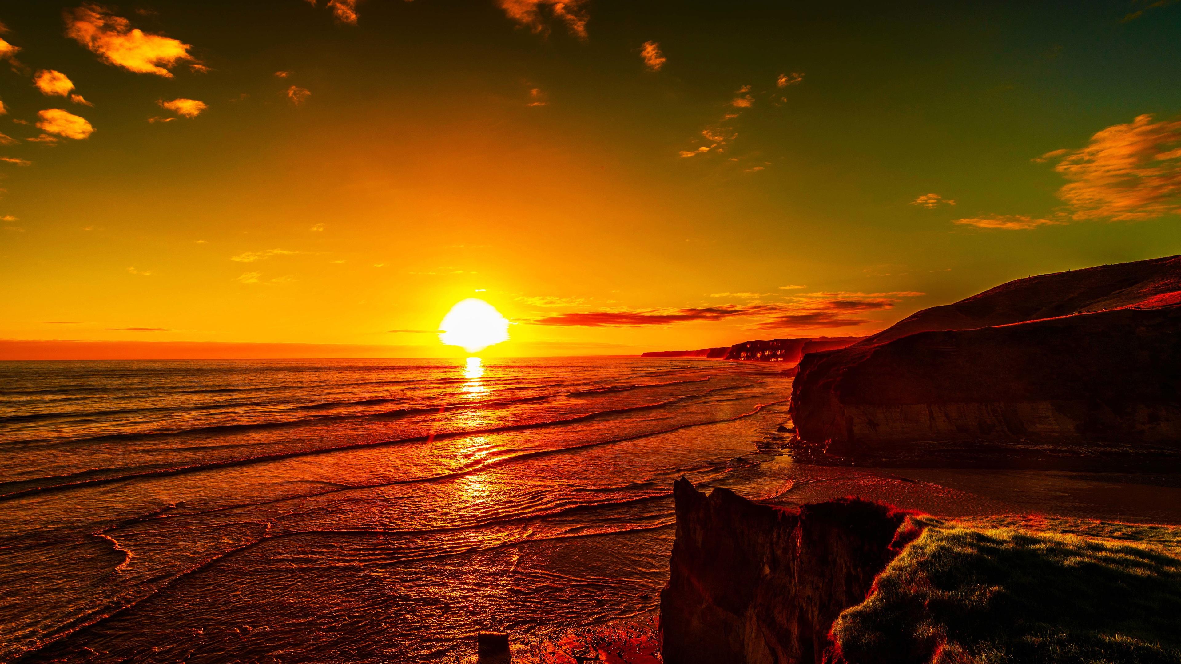 Wallpaper Sea Sunset Red Sky Coast Dusk 3840x2160 Uhd 4k