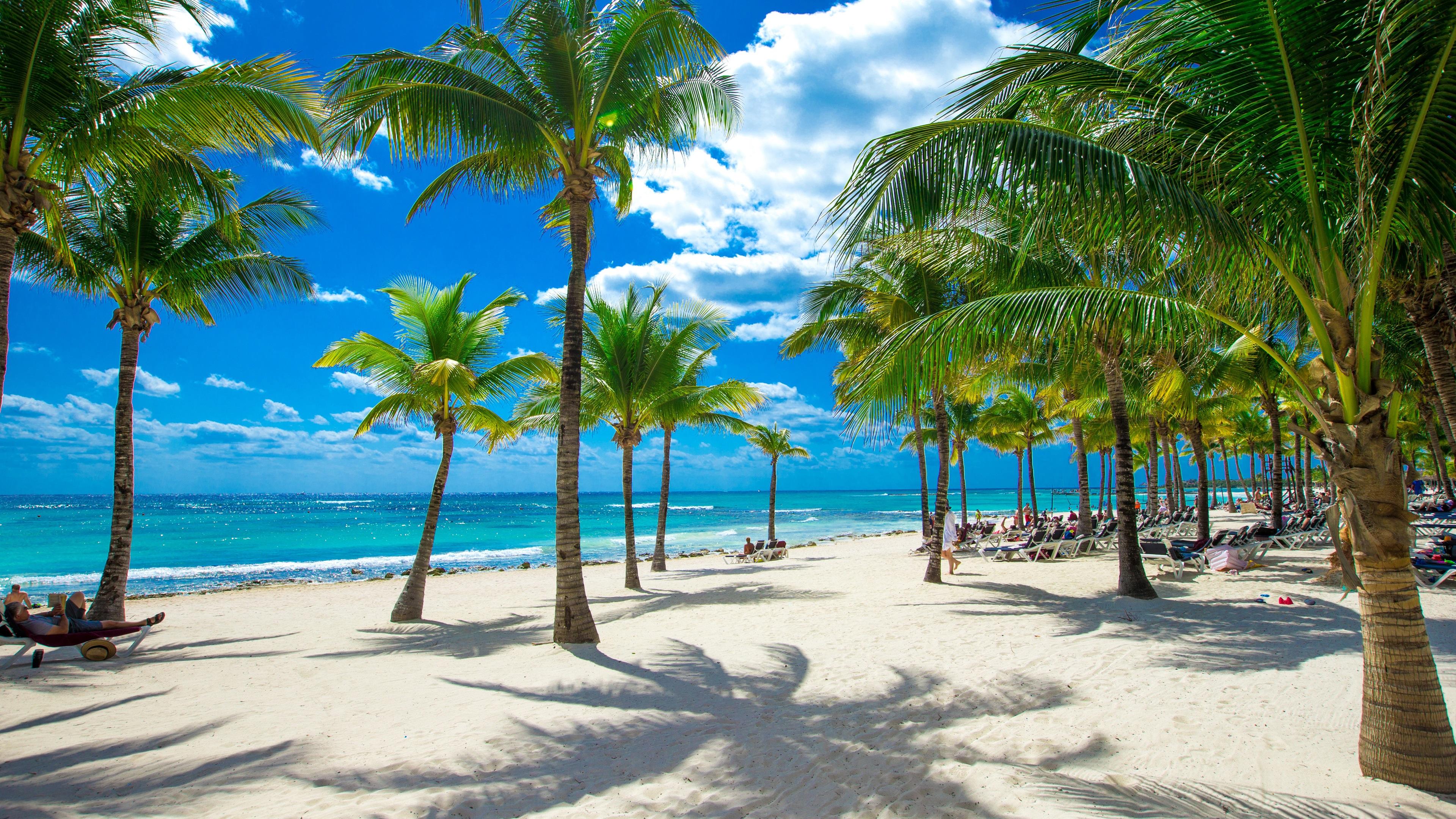Fondos de pantalla playa mar palmeras tropical nubes sol 3840x2160 uhd 4k imagen - Playa wallpaper ...