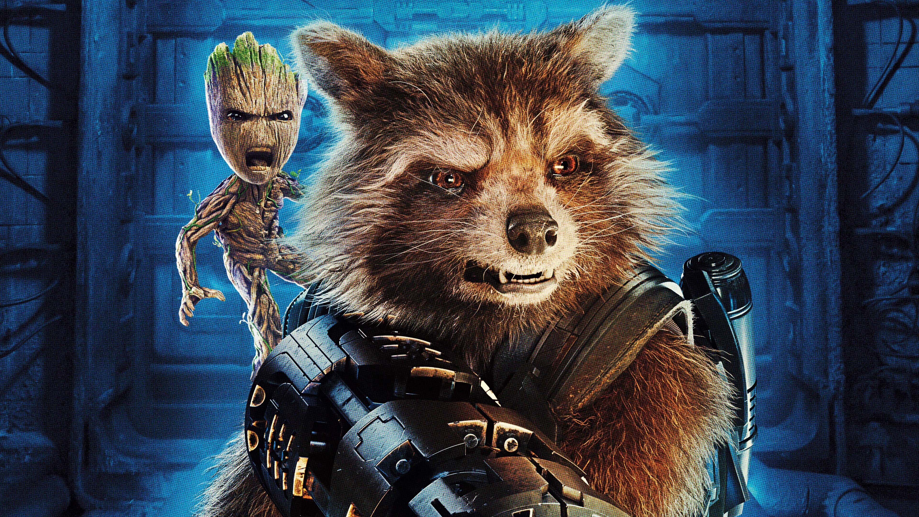 Wallpaper Rocket Baby Groot Guardians Of The Galaxy 2 3840x2160