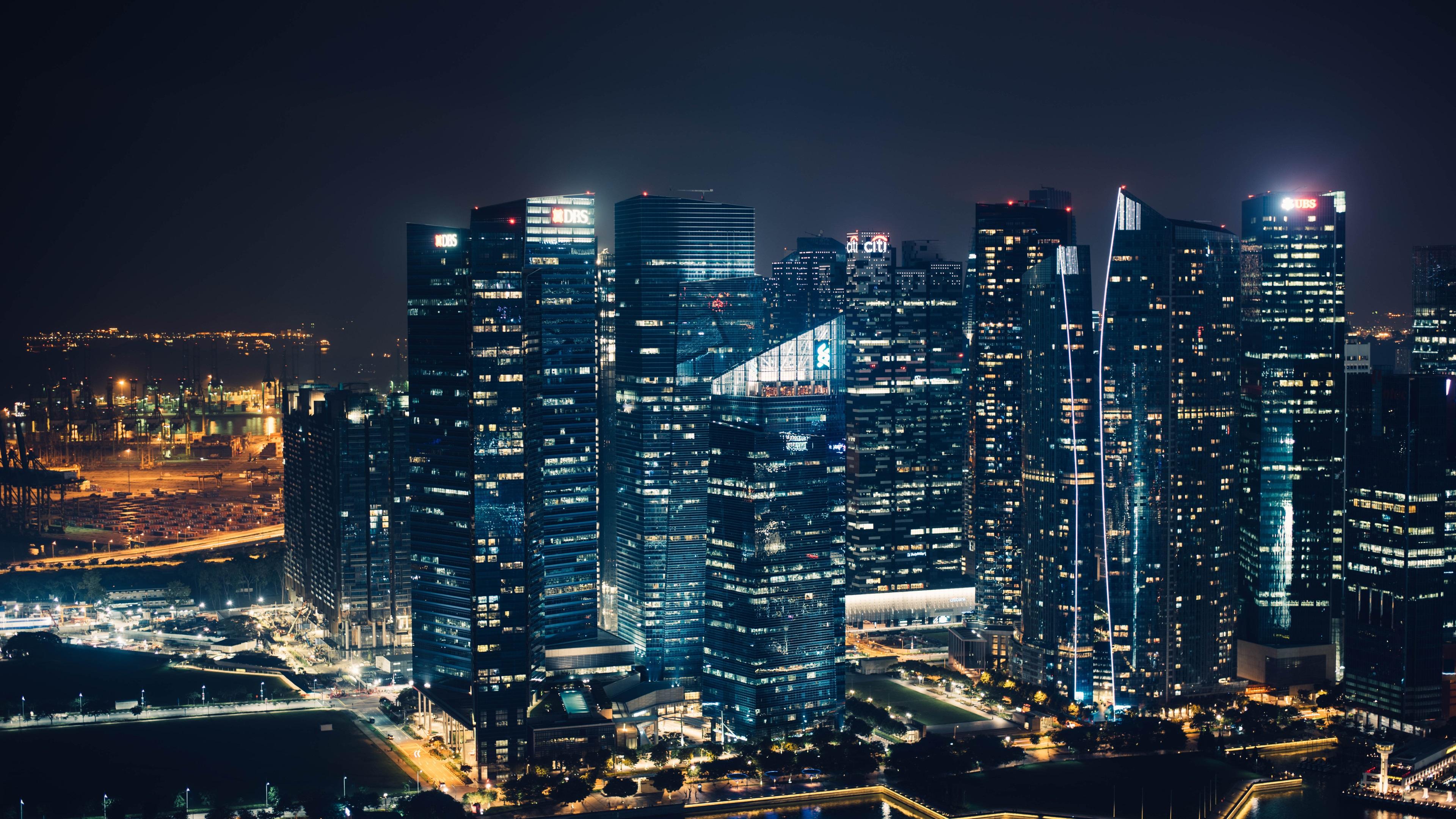 wallpaper skyscrapers, lights, city, night view 3840x2160 uhd 4k