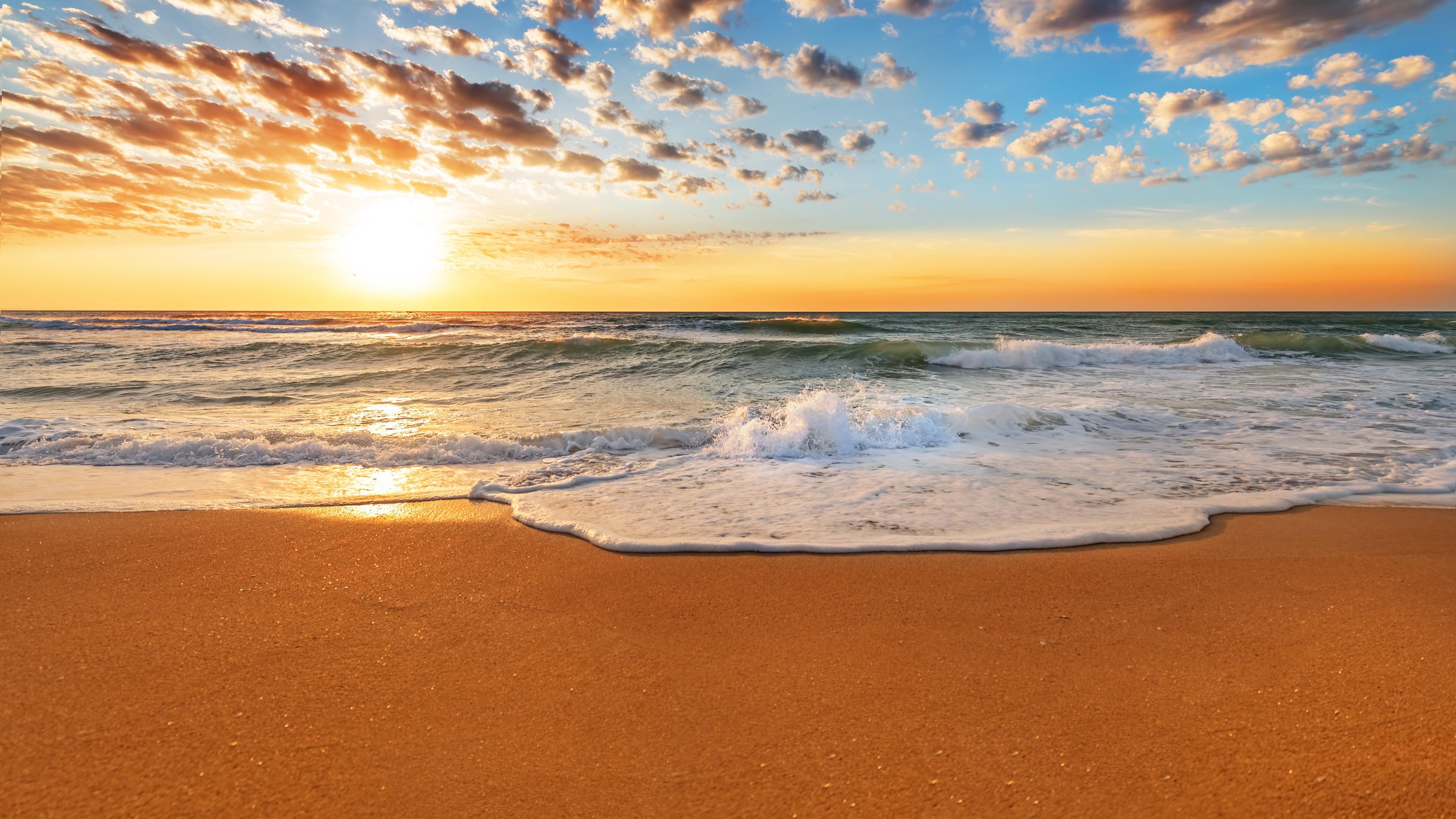Sunset beach, sands, waves, clouds, sky Wallpaper ...
