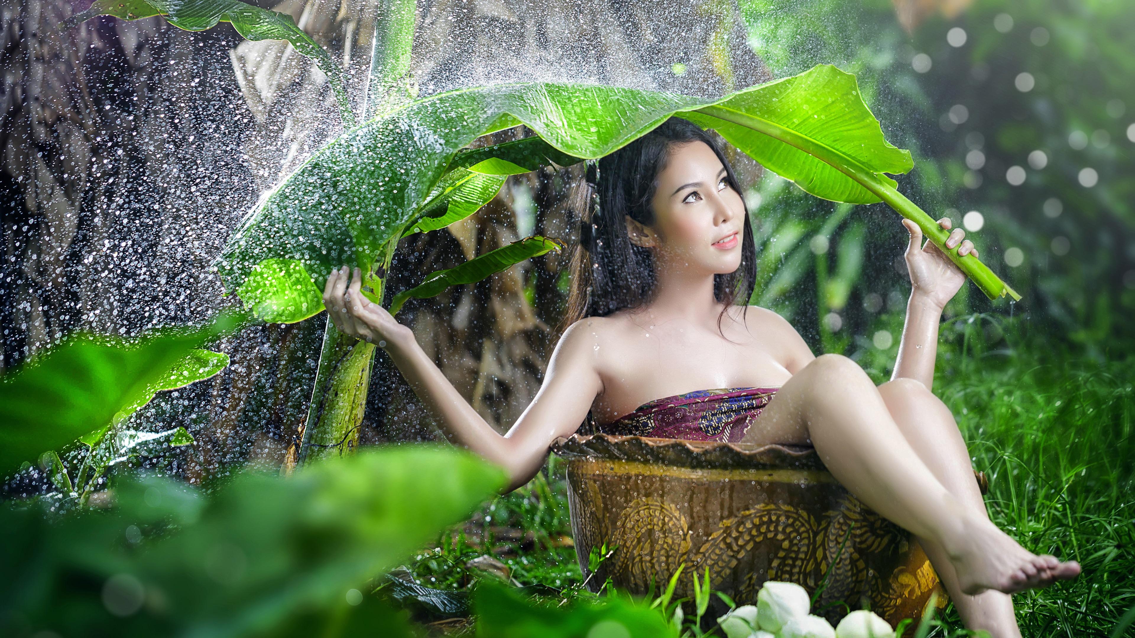 девушка зонт дождь природа  № 3582363 бесплатно
