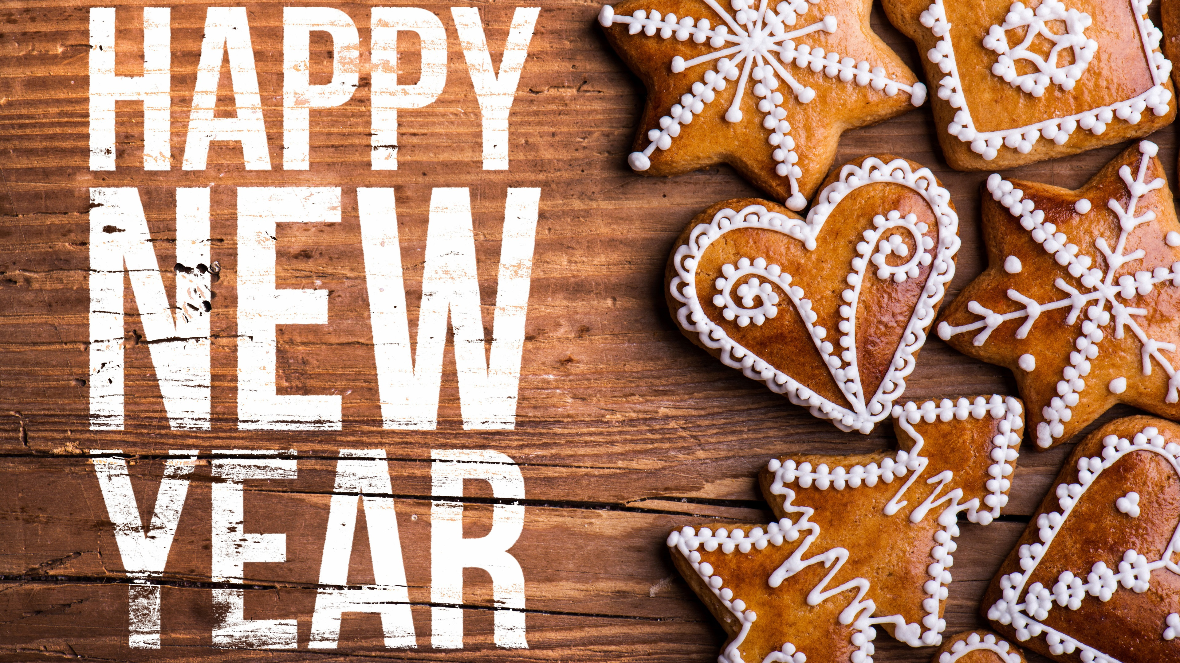 Happy New Year Cookies Wood Board 1080x1920 Iphone 8 7 6