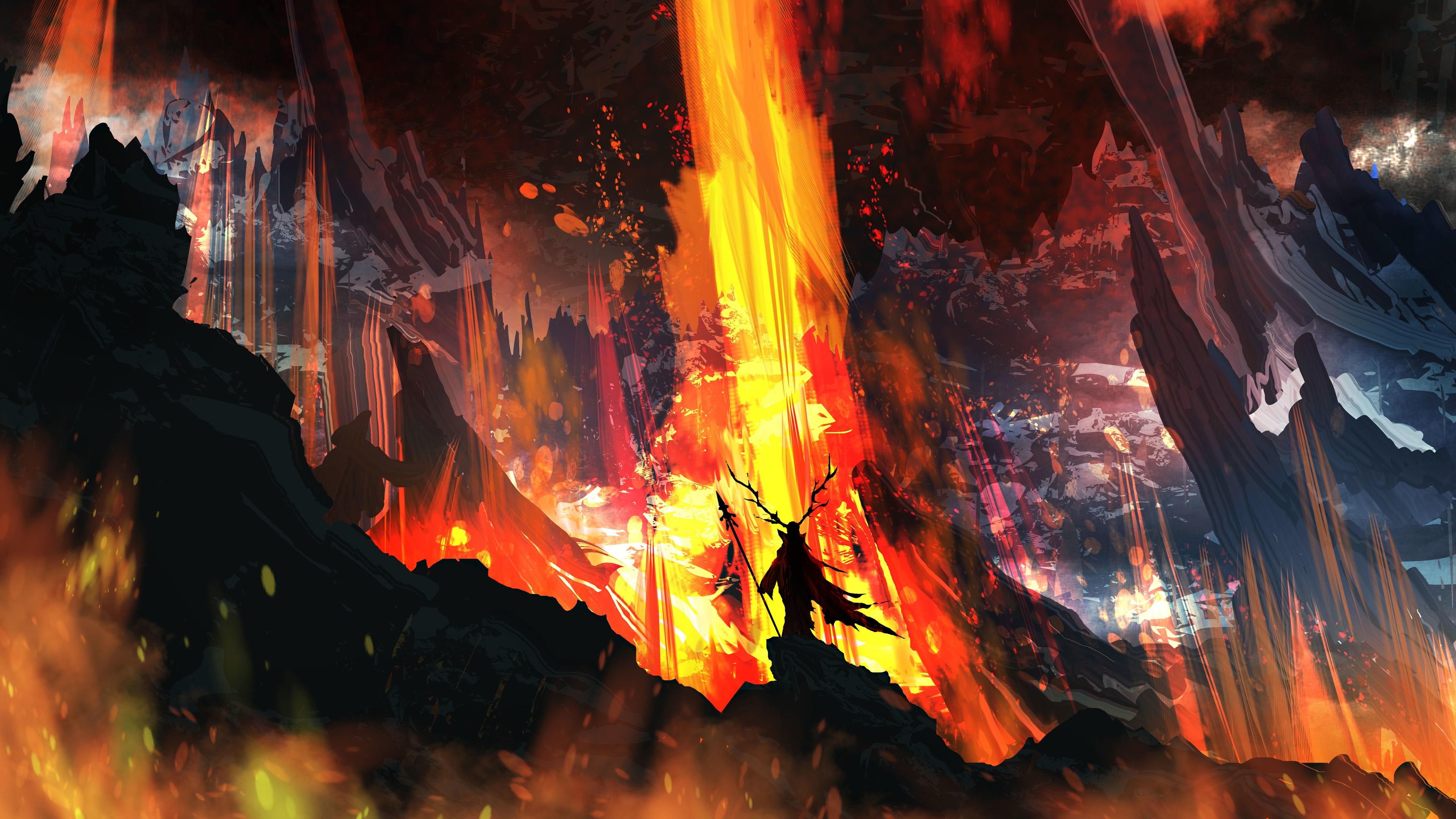 Fondos De Pantalla De Lava: Cuadro De Arte, Fuego, Lava, Cuernos Fondos De Pantalla