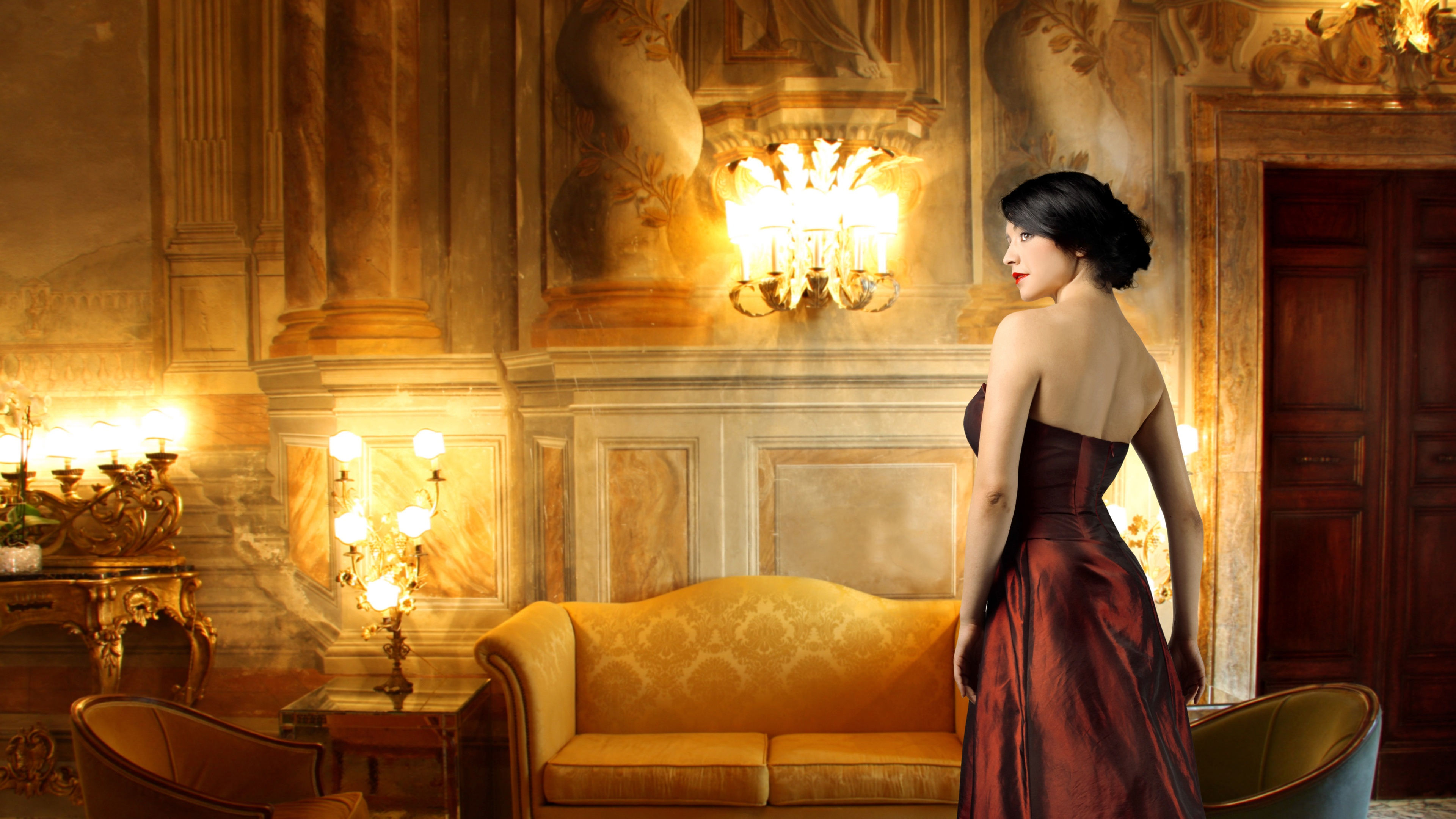 Wallpaper Elegant Girl Red Clothing Furniture Lights