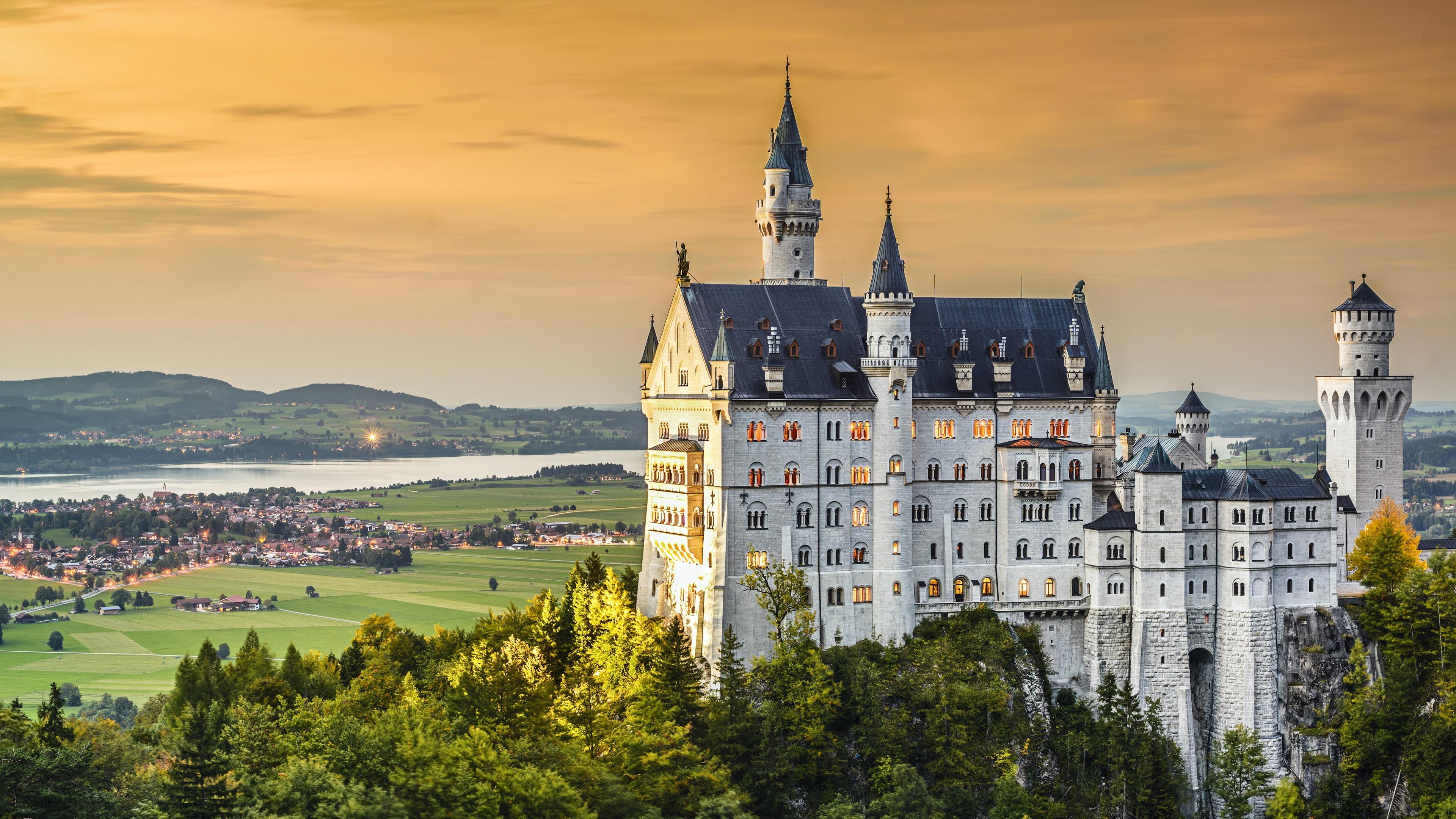 Fonds D Ecran Neuschwanstein Chateau Crepuscule Allemagne