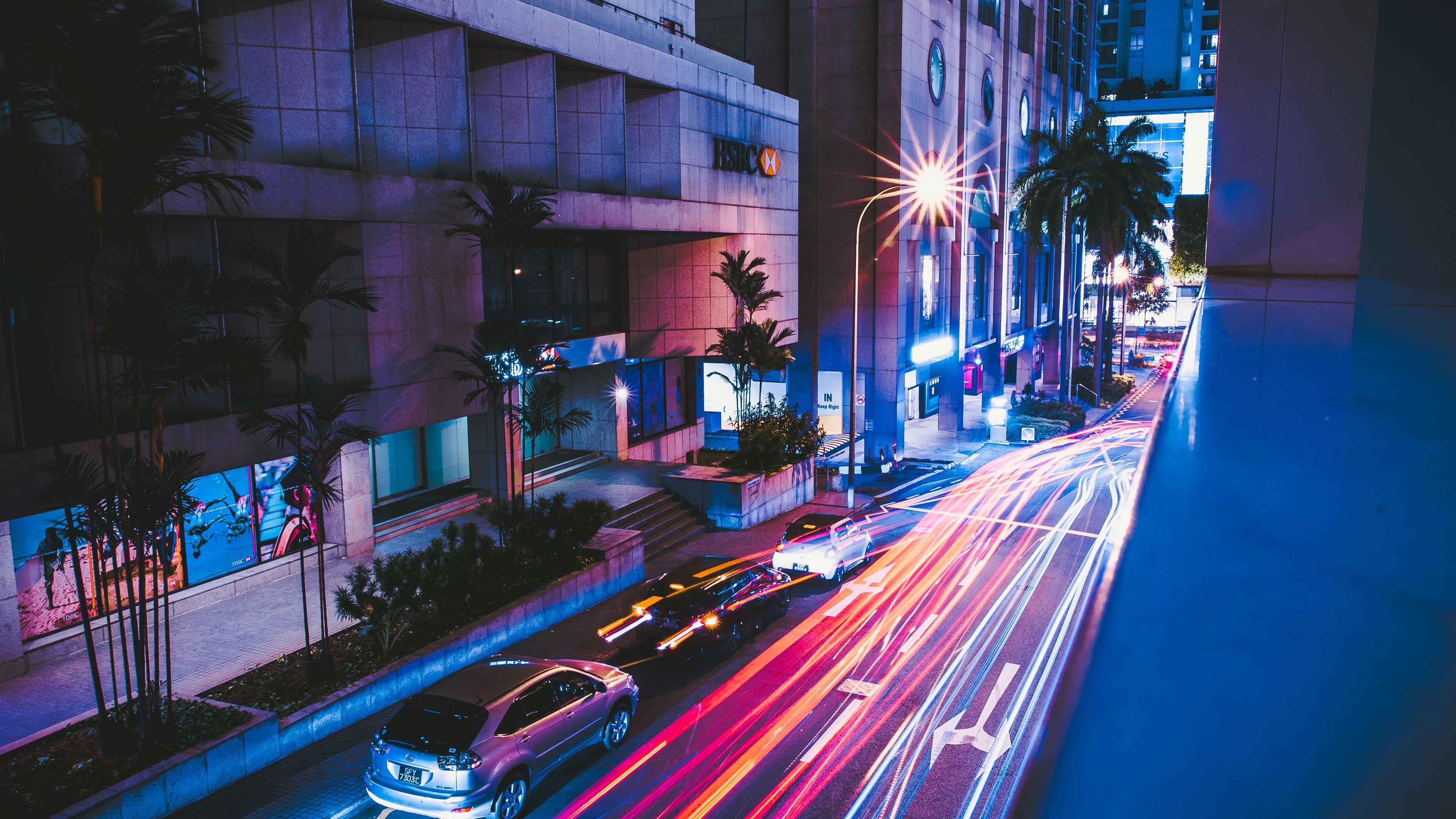 Wallpaper Night Road Street Cars Light City 3840x2160