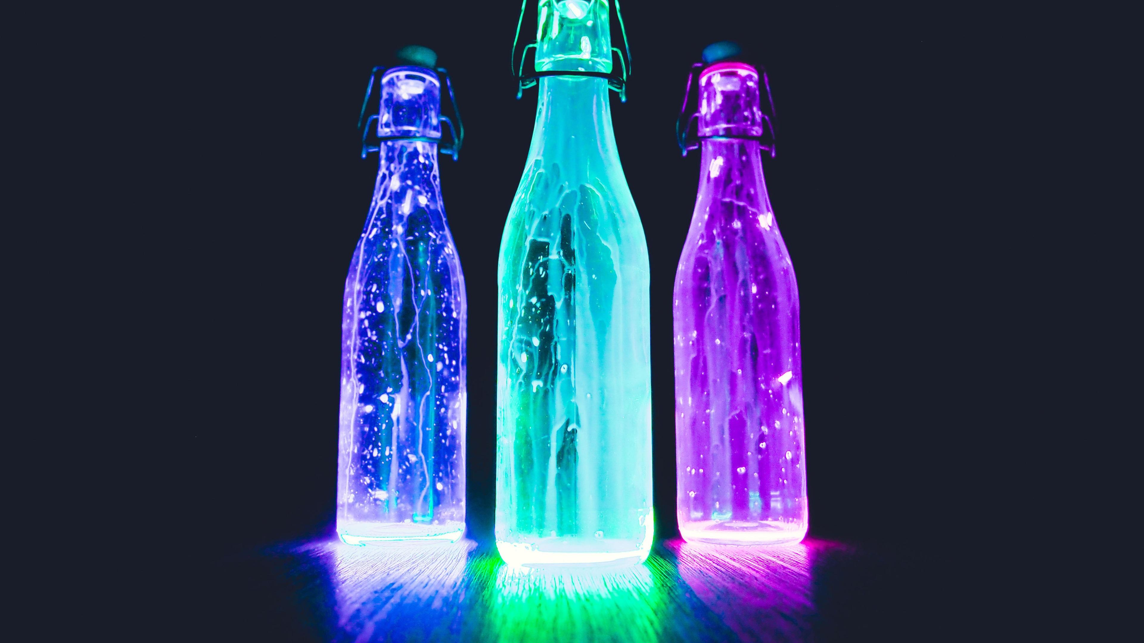Wallpaper Glow light bottles, neon, liquid, black ...
