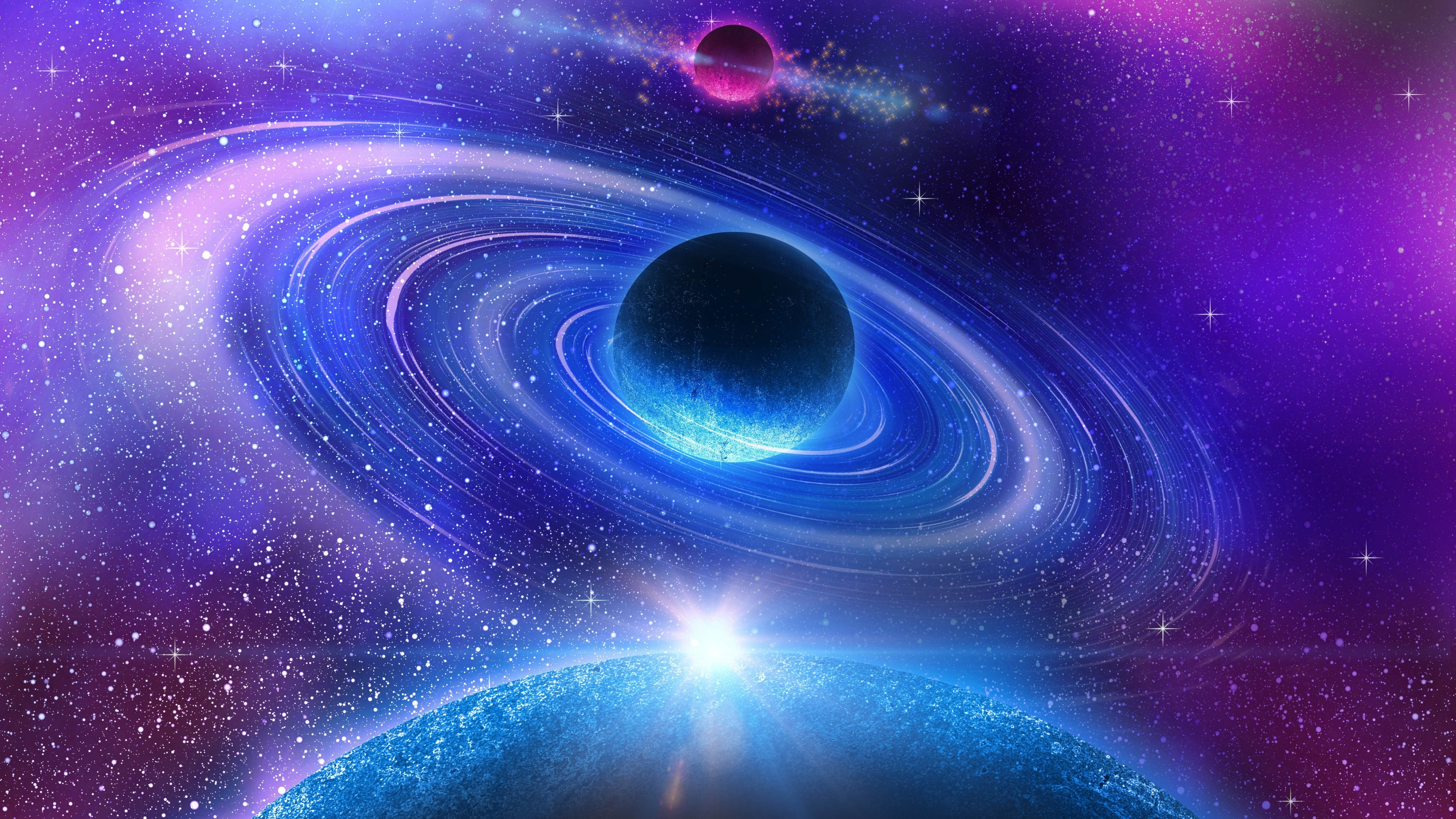 Wallpaper Beautiful Universe Blue Planet 3840x2160 UHD 4K Picture