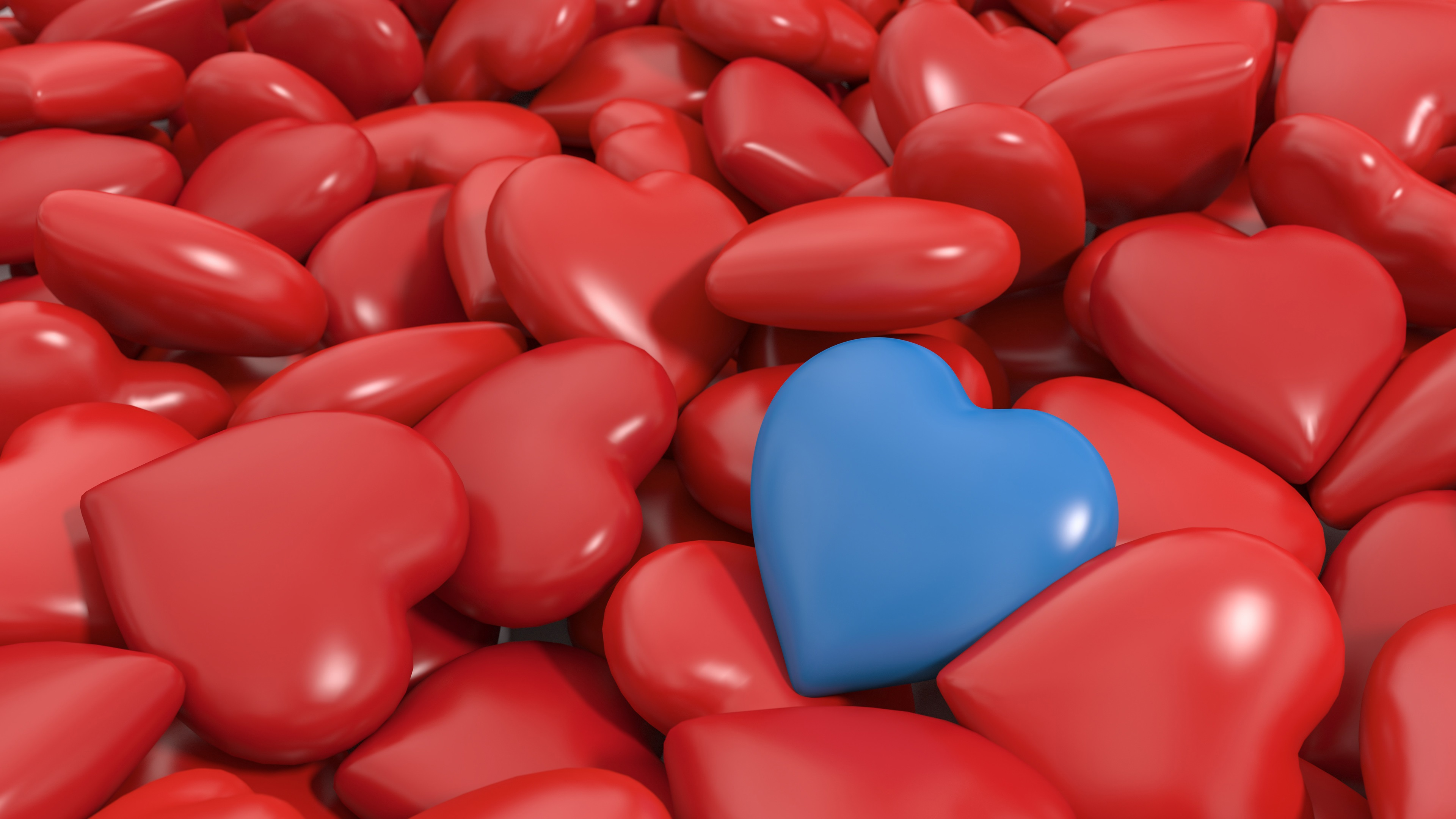Wallpaper 3d Love Hearts Many Red And One Blue 3840x2160
