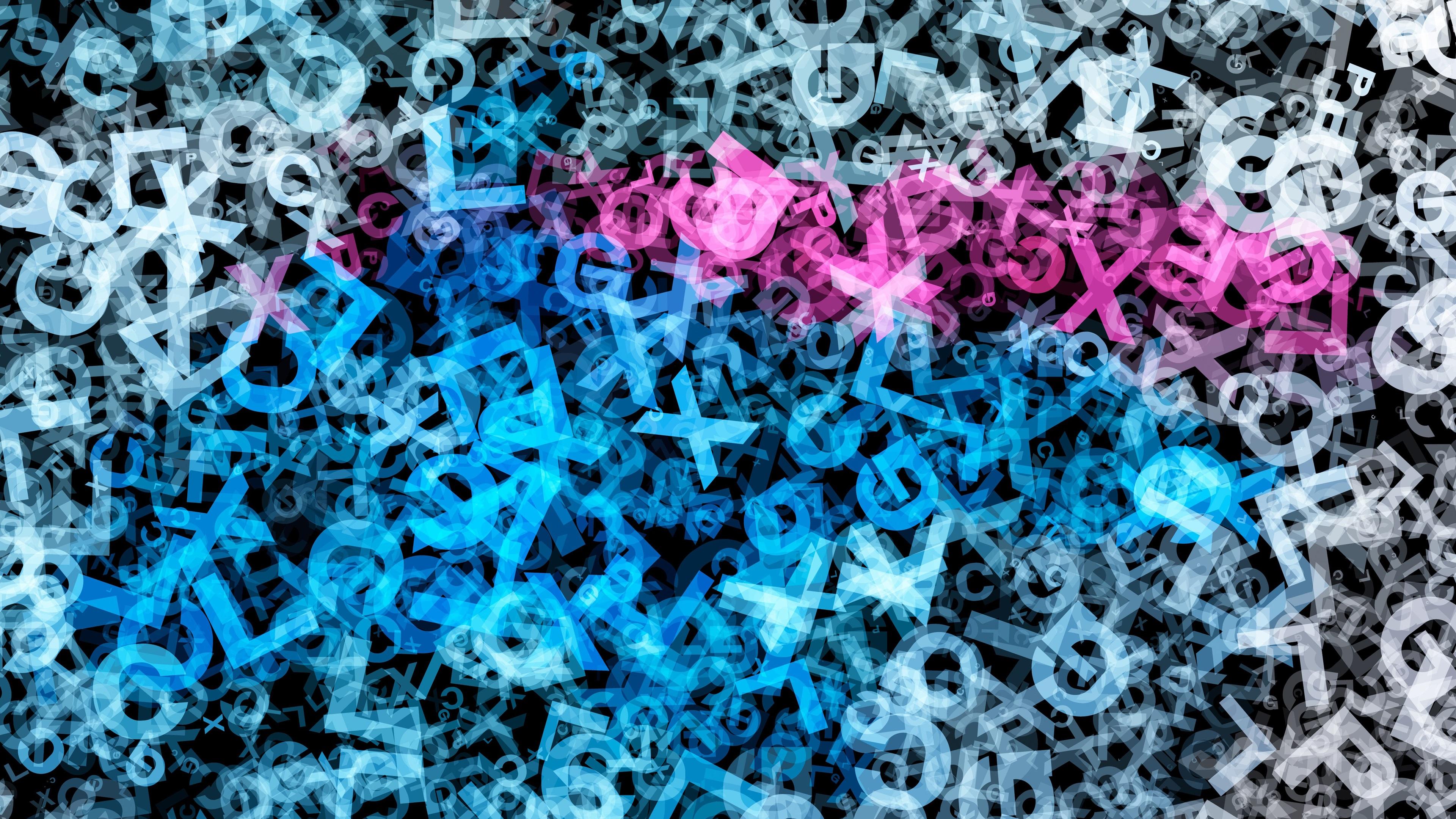 Fondos De Pantalla Muchas Letras, Colores Azul Y Morado