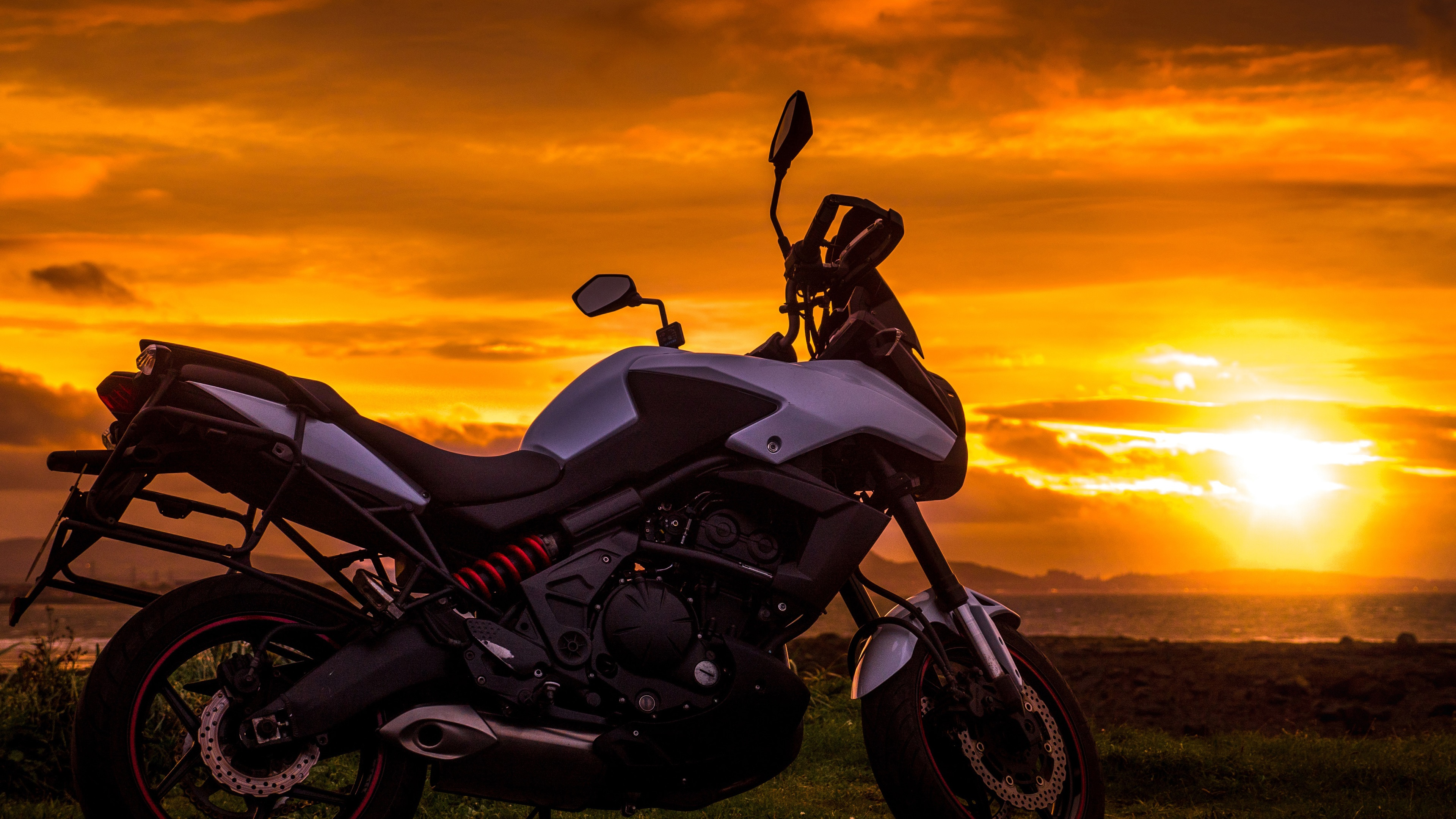 Wallpaper Motorcycle At Sunset Clouds 3840x2160 Uhd 4k