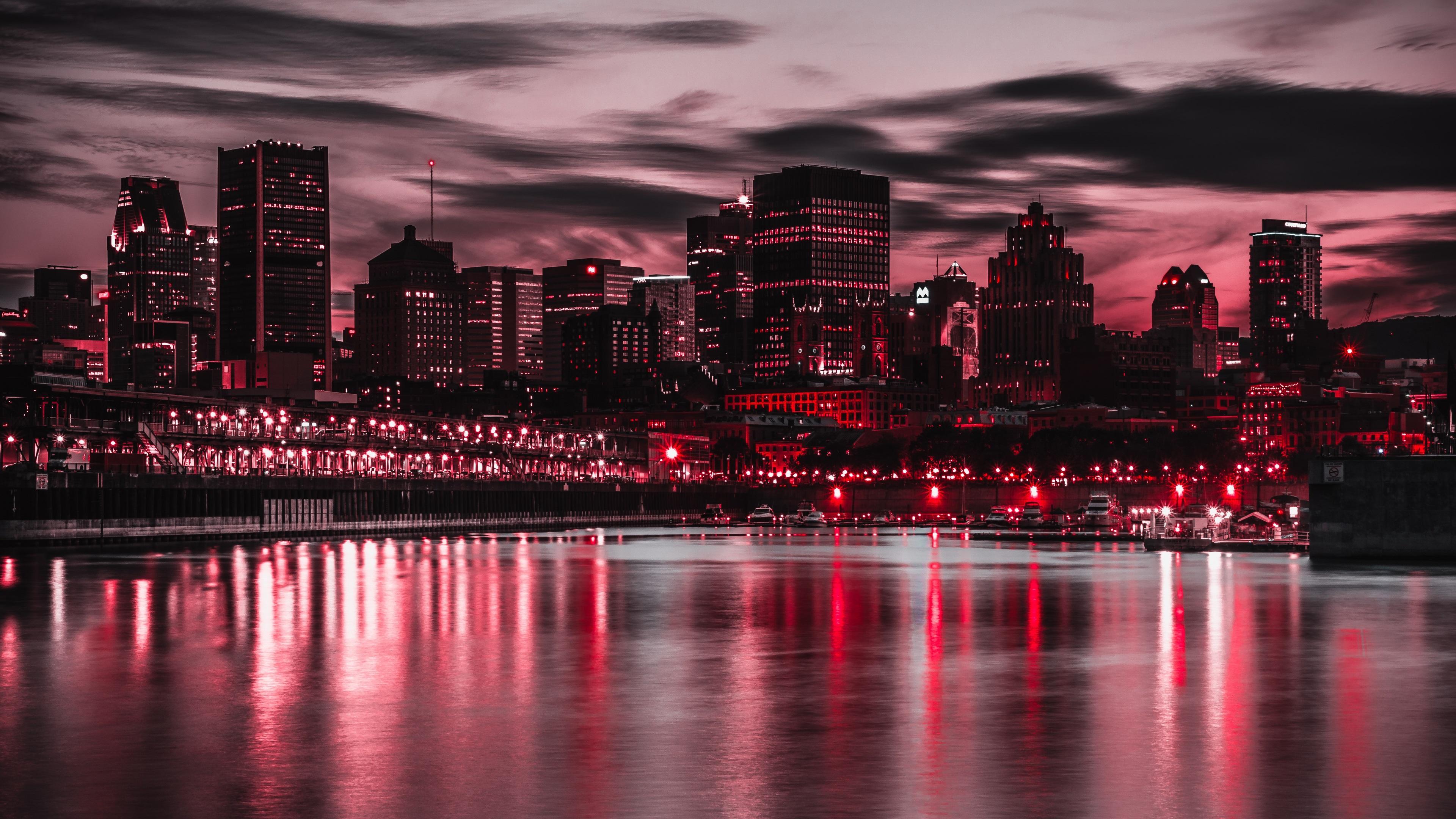 Ночной город у берега в хорошем качестве
