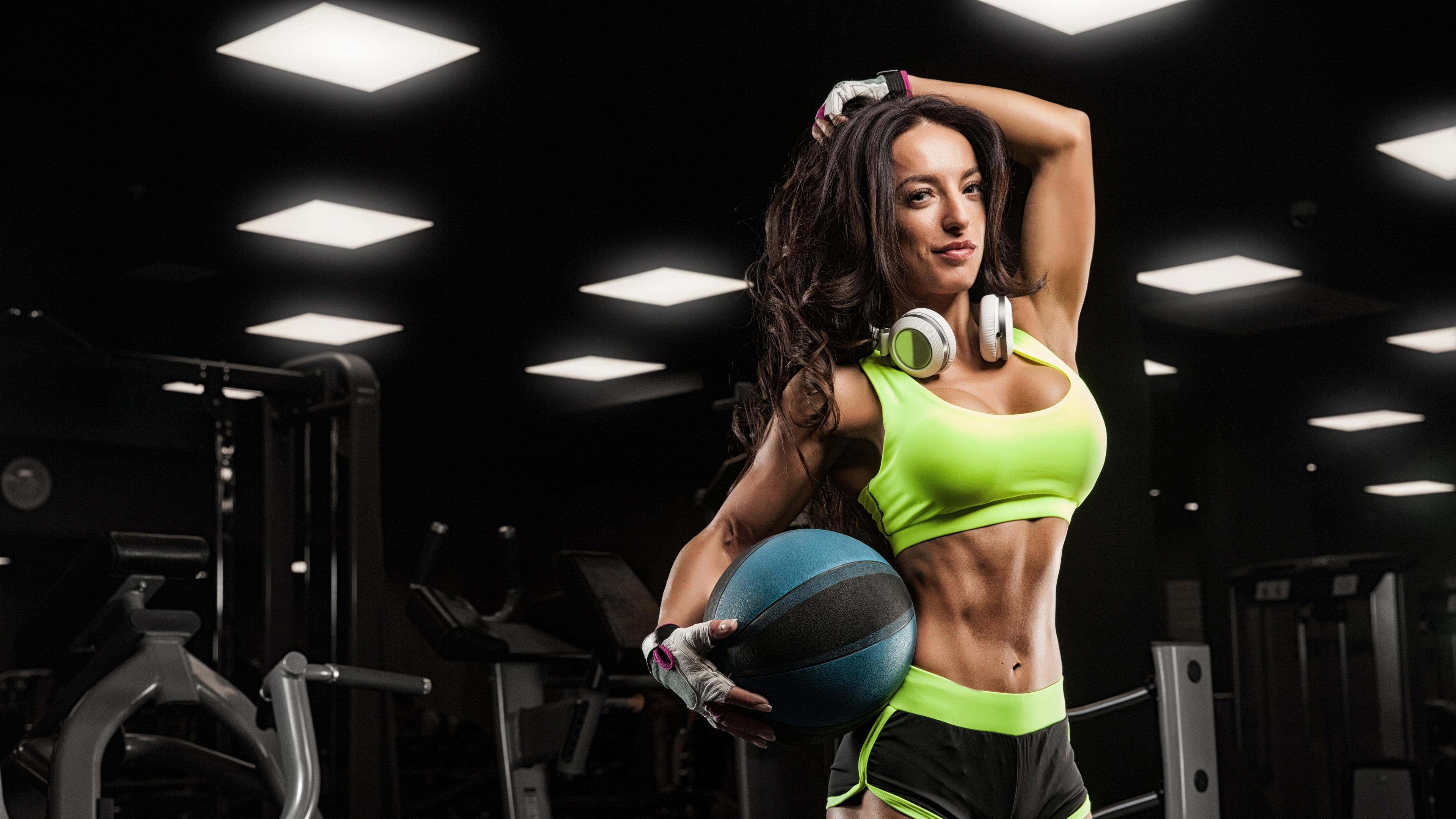 Wallpaper Fitness female, girl, ball, headphones 3840x2160 UHD 4K